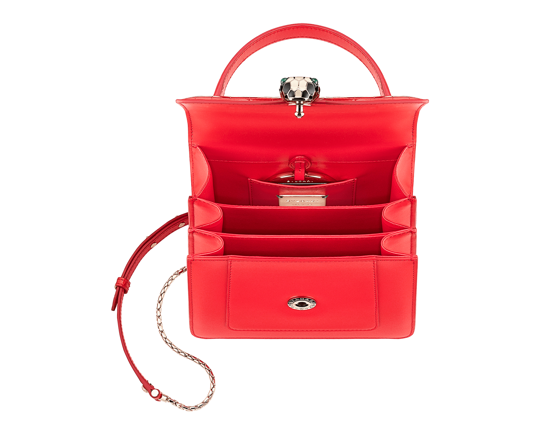 Serpenti Forever crossbody bag in sea star coral shiny croco skin and smooth calf leather. Snakehead closure in light gold plated brass decorated with black and white enamel, and green malachite eyes. 288491 image 3