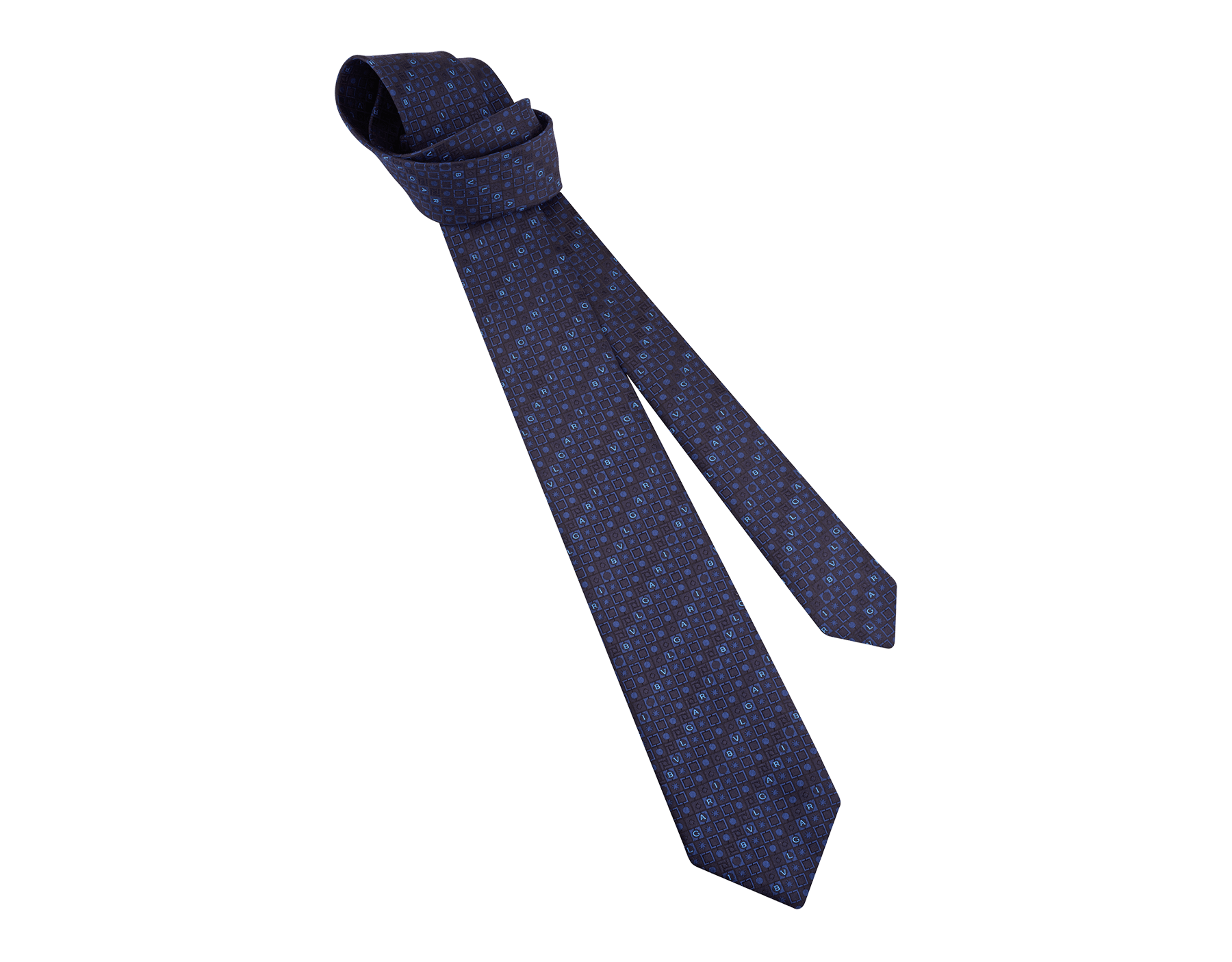 Cravatta sette pieghe blu navy con motivo Logo Peter in pregiata seta saglione stampata. 243668 image 1