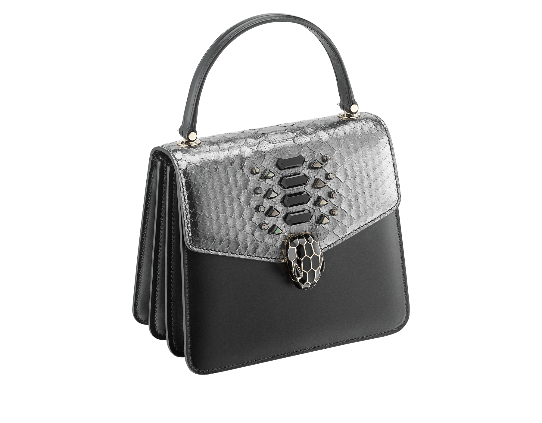 """Serpenti Forever "" crossbody bag in dark silver python skin flap with onyx scales applied and black smooth calf leather body. Iconic snake head closure in light gold plated brass enriched with black enamel and black onyx eyes. 289419 image 2"