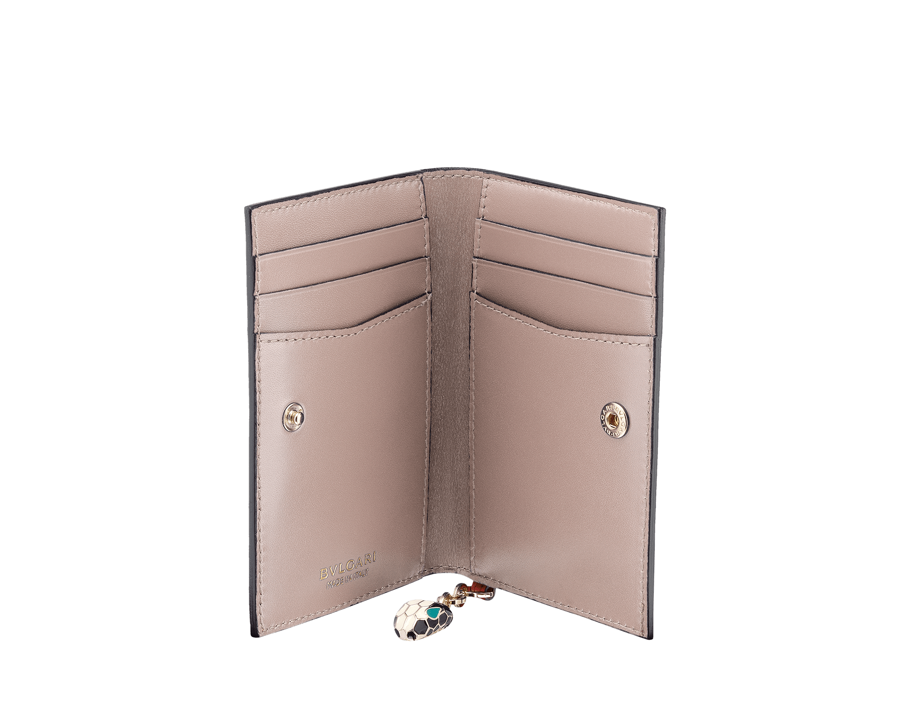 Serpenti Forever folded credit card holder in crystal rose calf leather. Iconic snakehead charm in black and white enamel, with green malachite enamel eyes. SEA-CC-HOLDER-FOLD-CLb image 2
