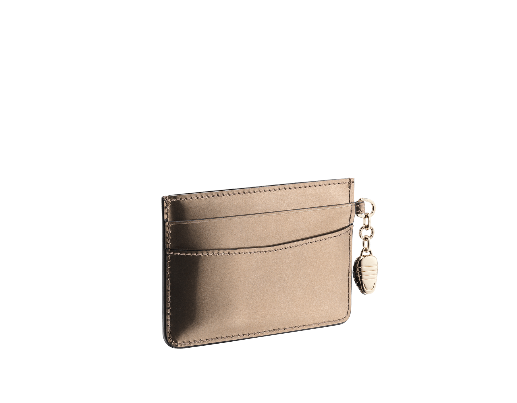 Credit card holder in antique bronze brushed metallic calf leather and black calf leather. Serpenti charm in black and white enamel with green malachite enamel eyes and Bulgari logo in metal characters. 282029 image 2