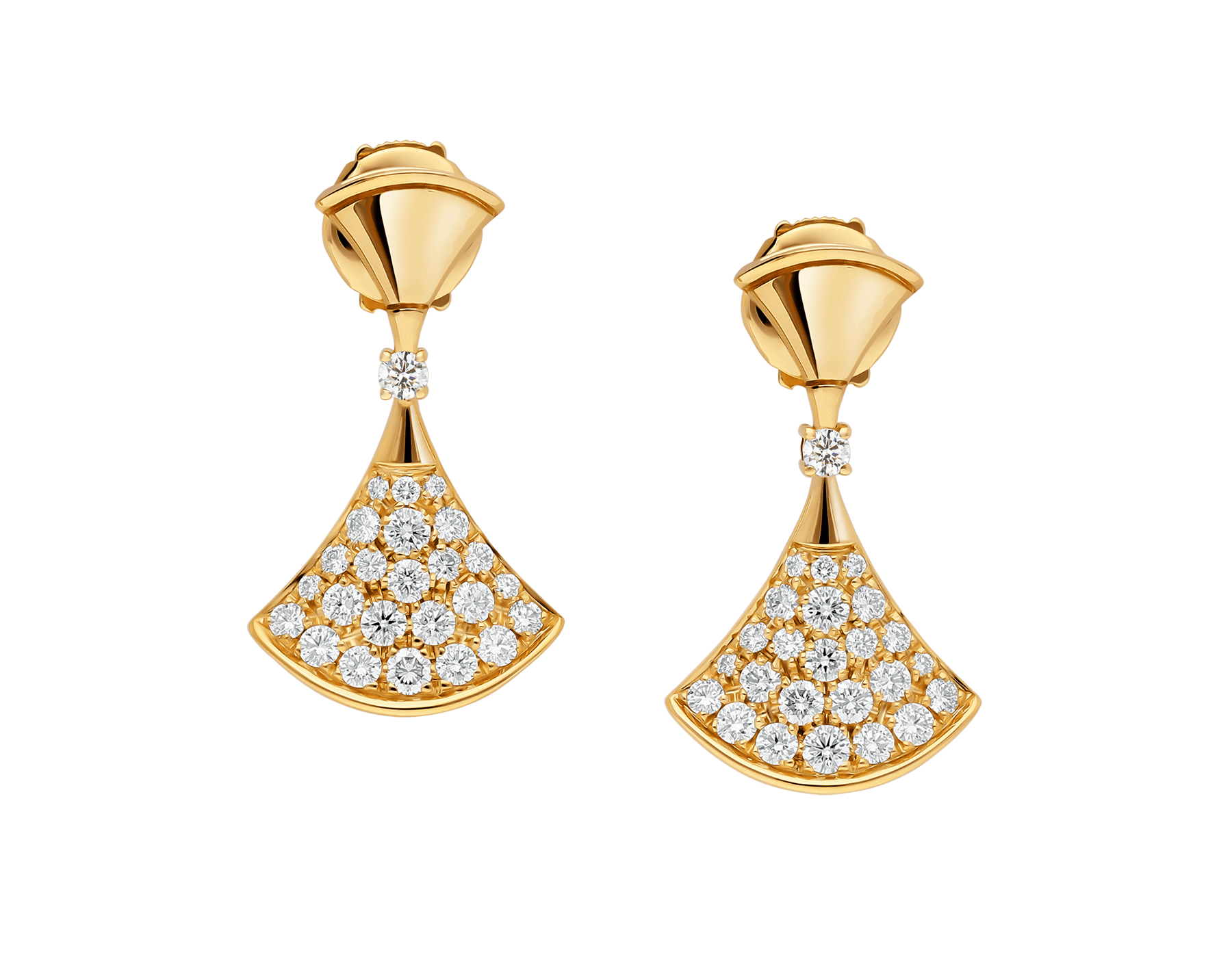 DIVAS' DREAM 18 kt yellow gold earrings set with a diamond and pavé diamonds 357514 image 1