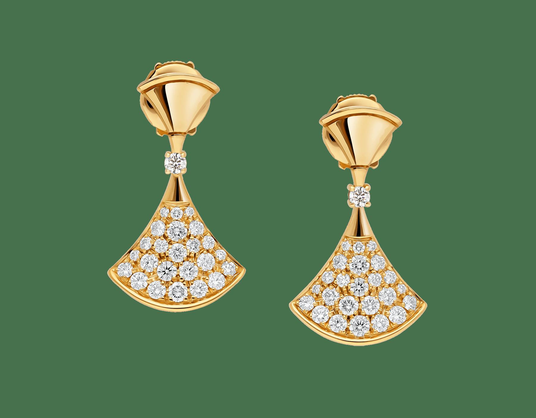 """""""DIVAS' DREAM"""" Ohrringe aus 18 Karat Gelbgold mit einem Diamanten und Diamant-Pavé 357514 image 1"""