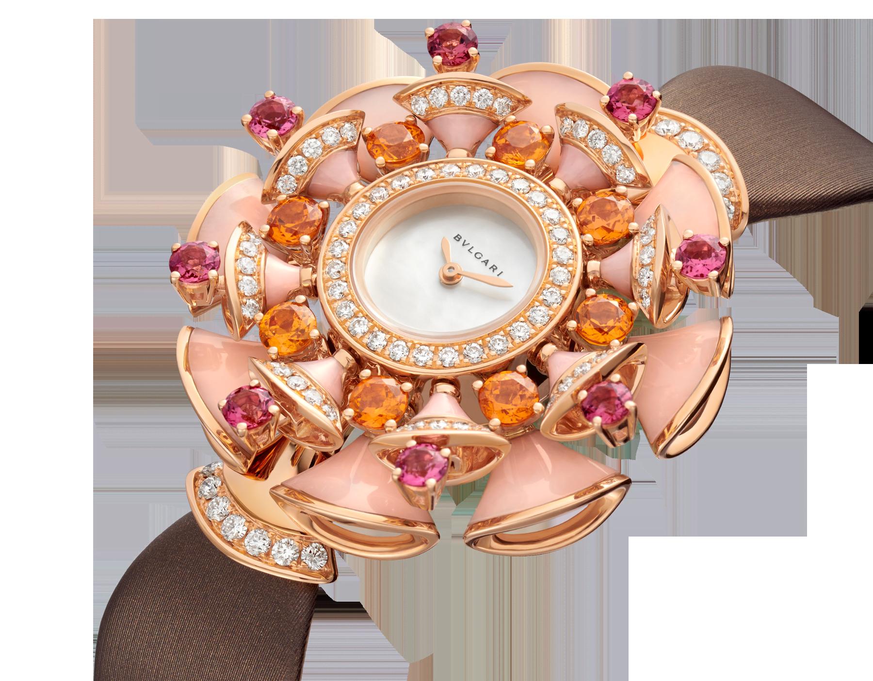 DIVAS' DREAM 腕錶,18K 玫瑰金錶殼鑲飾明亮型切割鑽石、橙色石榴石、碧璽和粉紅色蛋白石元素。白色珍珠母貝錶盤,褐灰色緞面錶帶。 102420 image 2