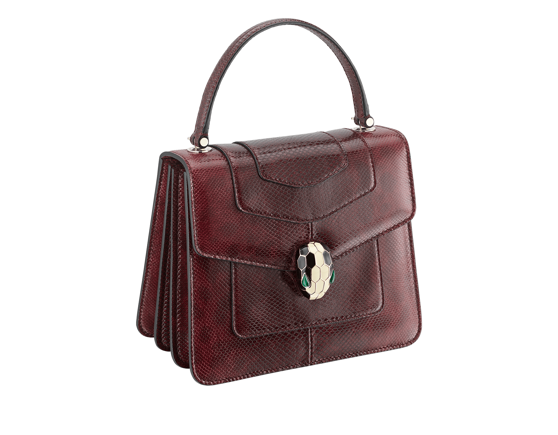 Flap cover bag Serpenti Forever in roman garnet shiny karung skin. Brass light gold plated hardware and tempting snake head closure in shiny black and white enamel, with eyes in green malachite. 286198 image 2