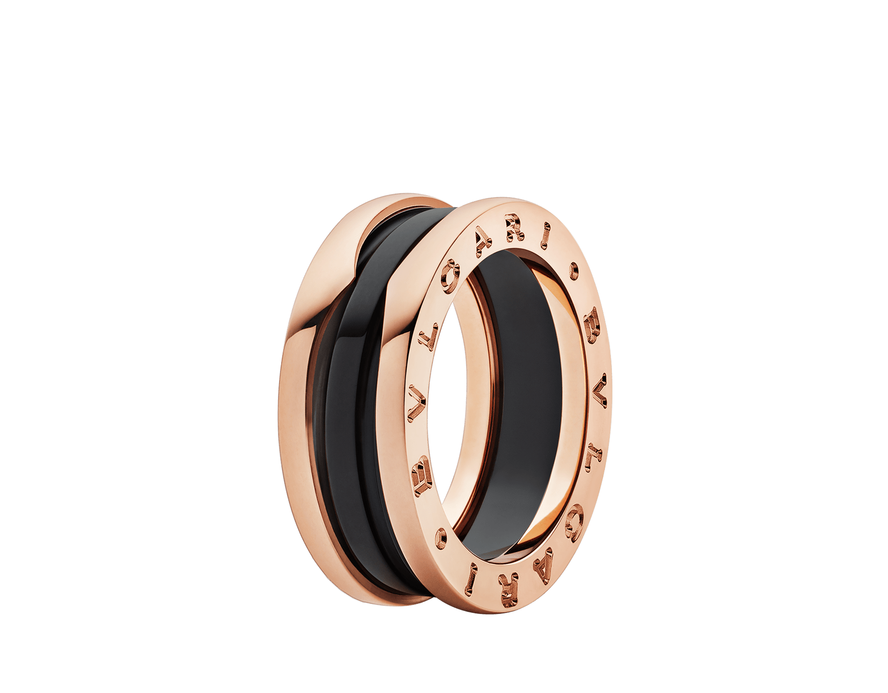 B.zero1 two-band ring with two 18 kt rose gold loops and a black ceramic spiral. B-zero1-2-bands-AN855962 image 1