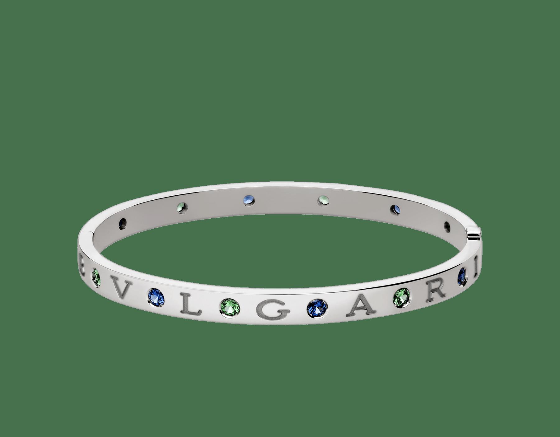 Bracelet jonc BVLGARI BVLGARI en or blanc 18K serti de six saphirs et six tsavorites BR857636 image 2