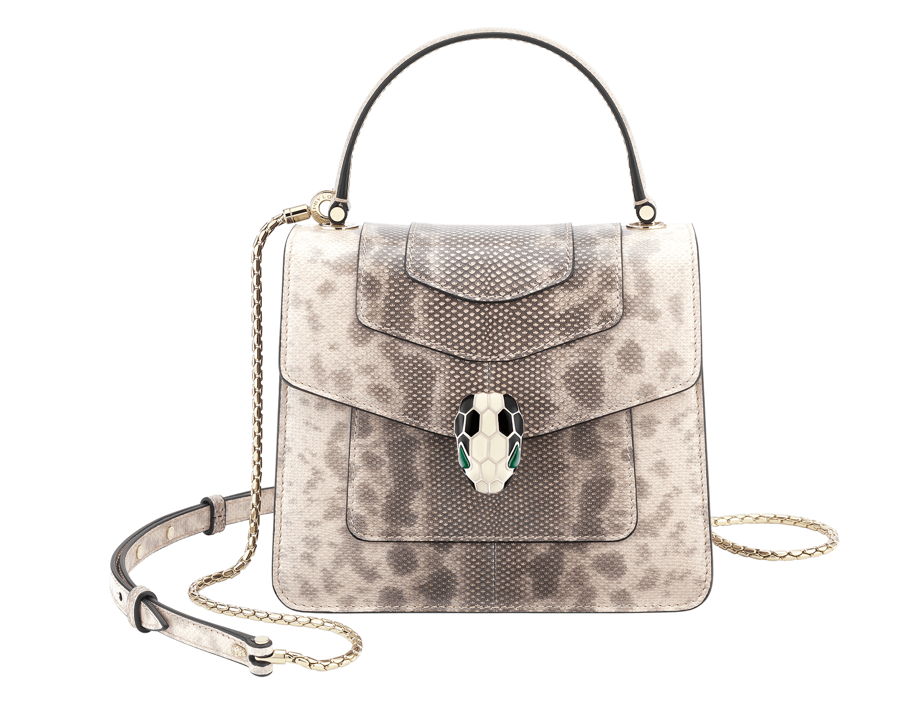 Serpenti Forever crossbody bag in milky opal shiny karung skin. Snakehead closure in light gold plated brass decorated with black and white enamel, and green malachite eyes. 287914 image 1