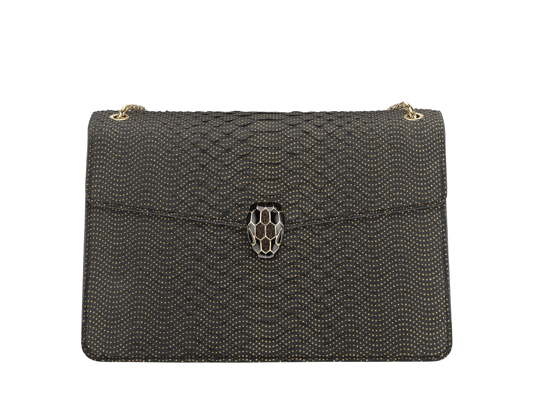 """""""Serpenti Forever"""" shoulder bag in black Fil Coupé python skin. Iconic snakehead closure in light rose gold plated brass enriched with glitter bronze and shiny black enamel and green malachite eyes 287320 image 1"""