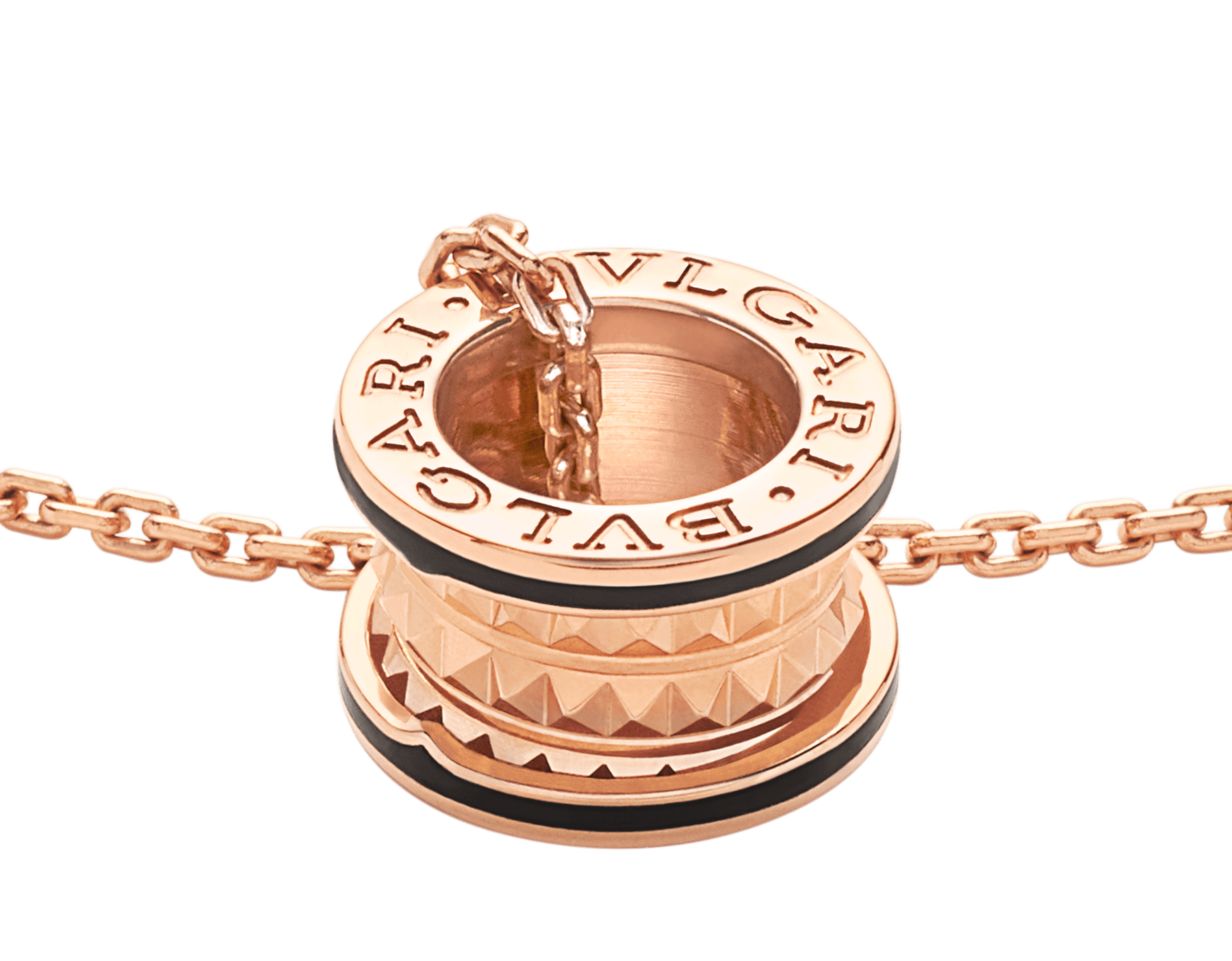 B.zero1 Rock necklace with 18 kt rose gold pendant with studded spiral, black ceramic inserts on the edges and 18 kt rose gold chain 358054 image 3