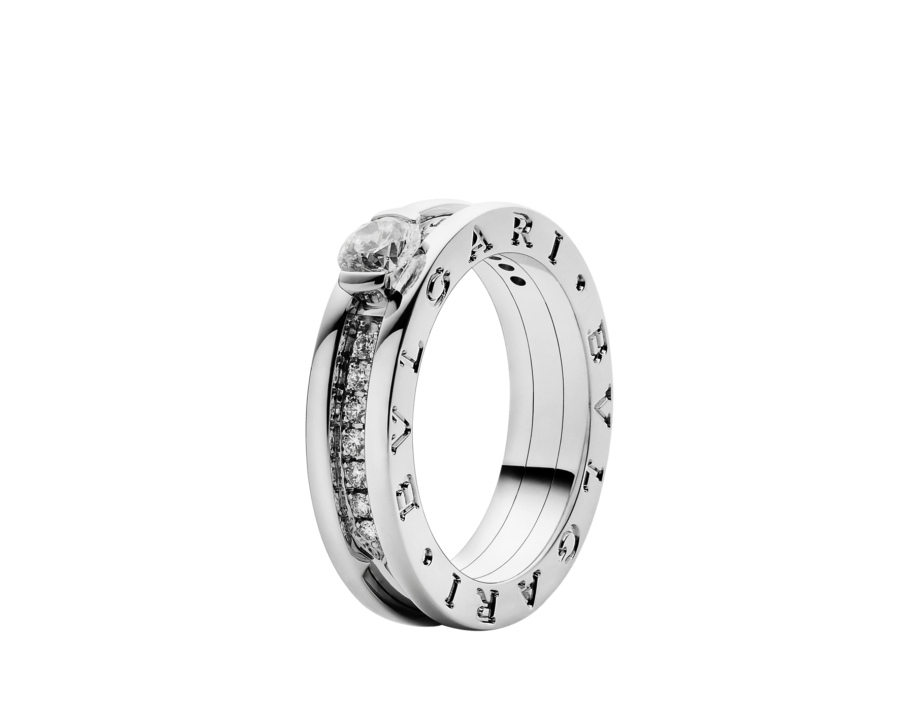 B.zero1 one-band ring in 18 kt white gold set with pavé diamonds on the spiral and with one round brilliant cut diamond. Available in 0.30 ct. 335980 image 1