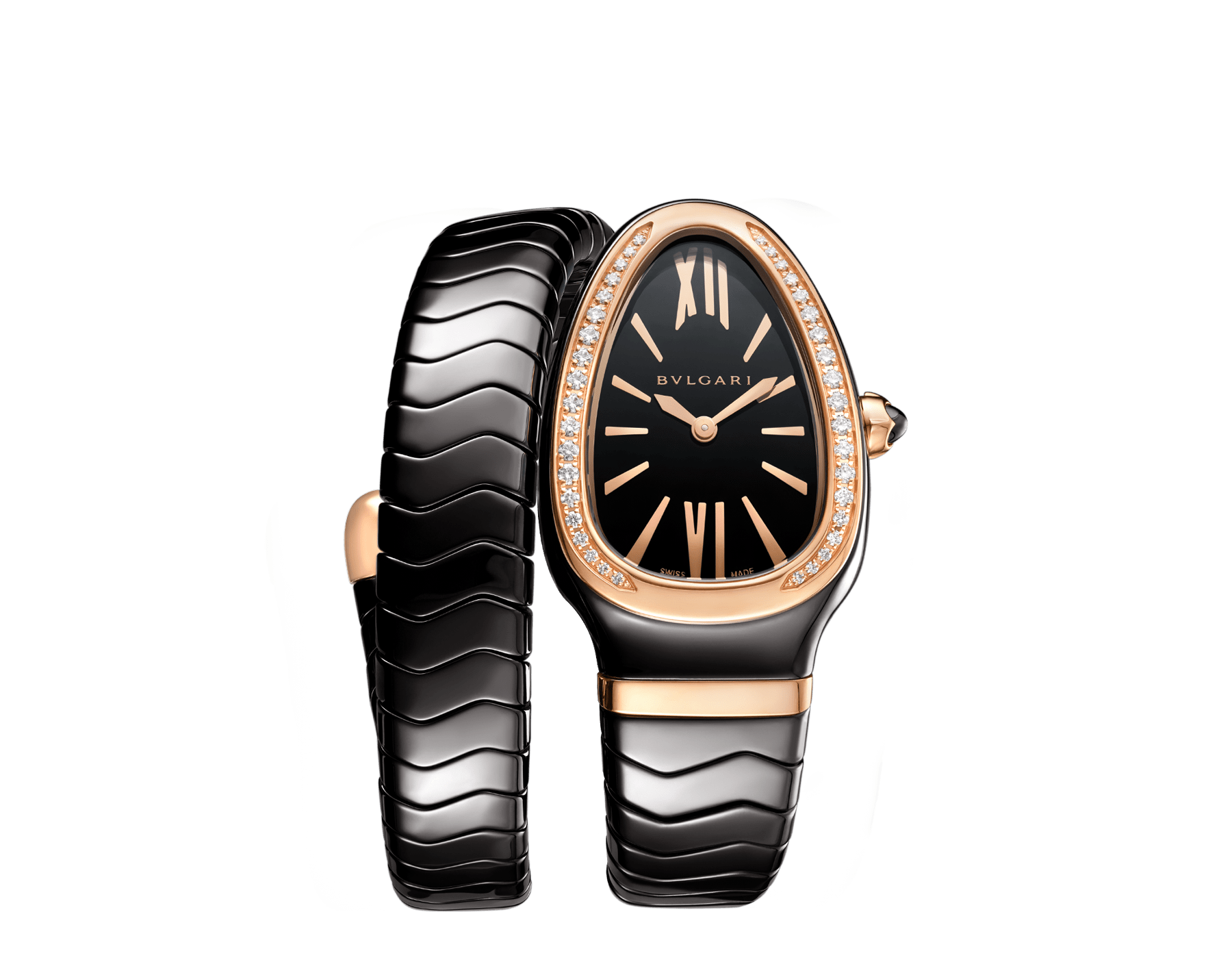 Serpenti Spiga single spiral watch with black ceramic case, 18 kt rose gold bezel set with brilliant cut diamonds, black lacquered dial, black ceramic bracelet with 18 kt rose gold elements. 102532 image 1