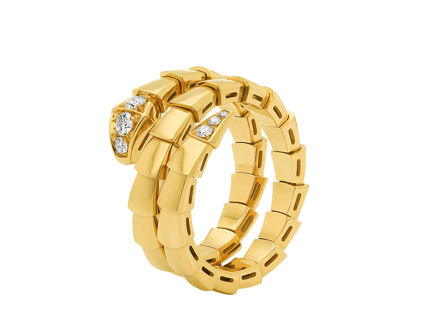 Serpenti Viper 18 kt yellow gold two-coil ring set with demi-pavé diamonds AN858970 image 2