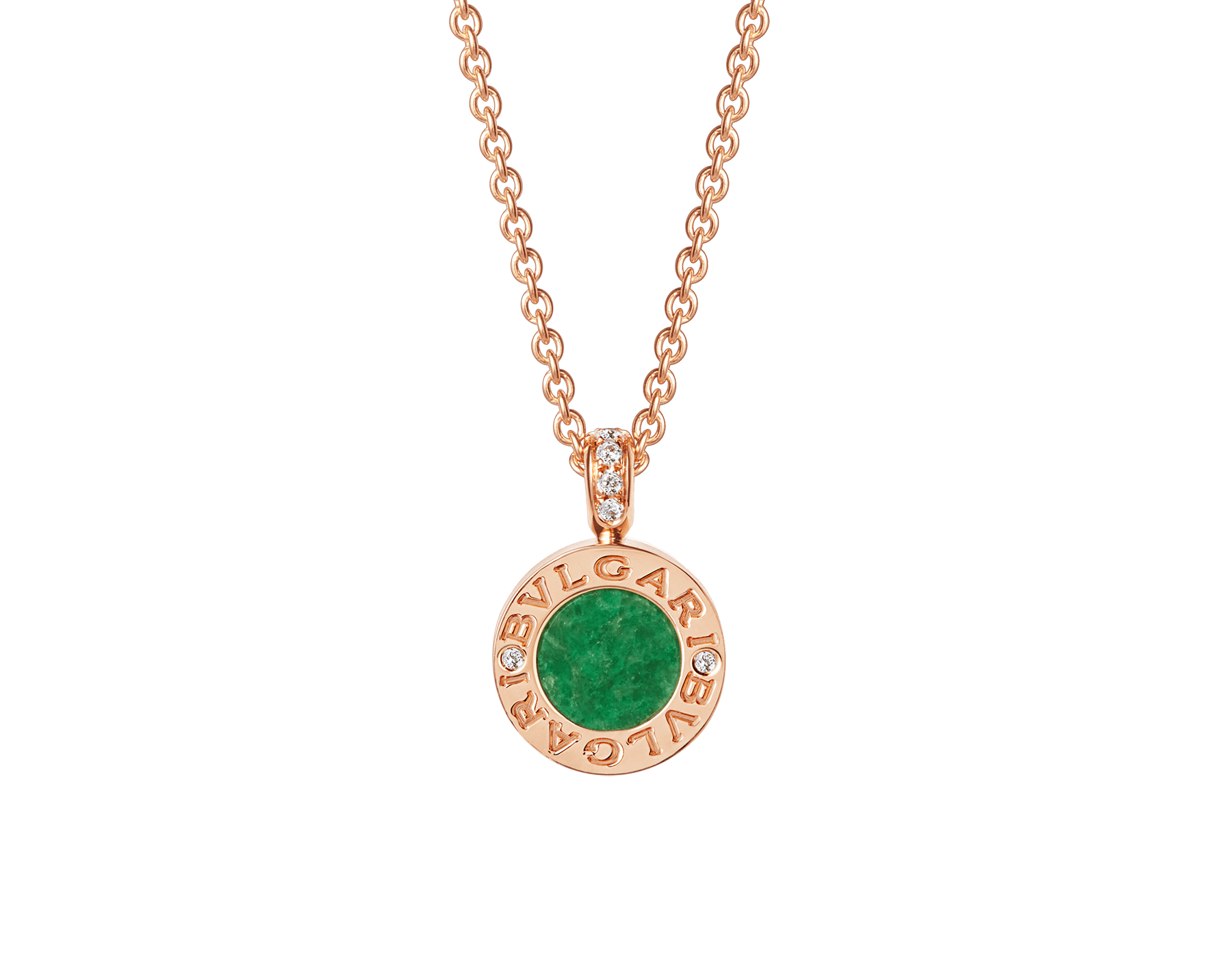 BVLGARI BVLGARI necklace with 18 kt rose gold chain and 18 rose gold pendant set with green jade and pavé diamonds 357256 image 1