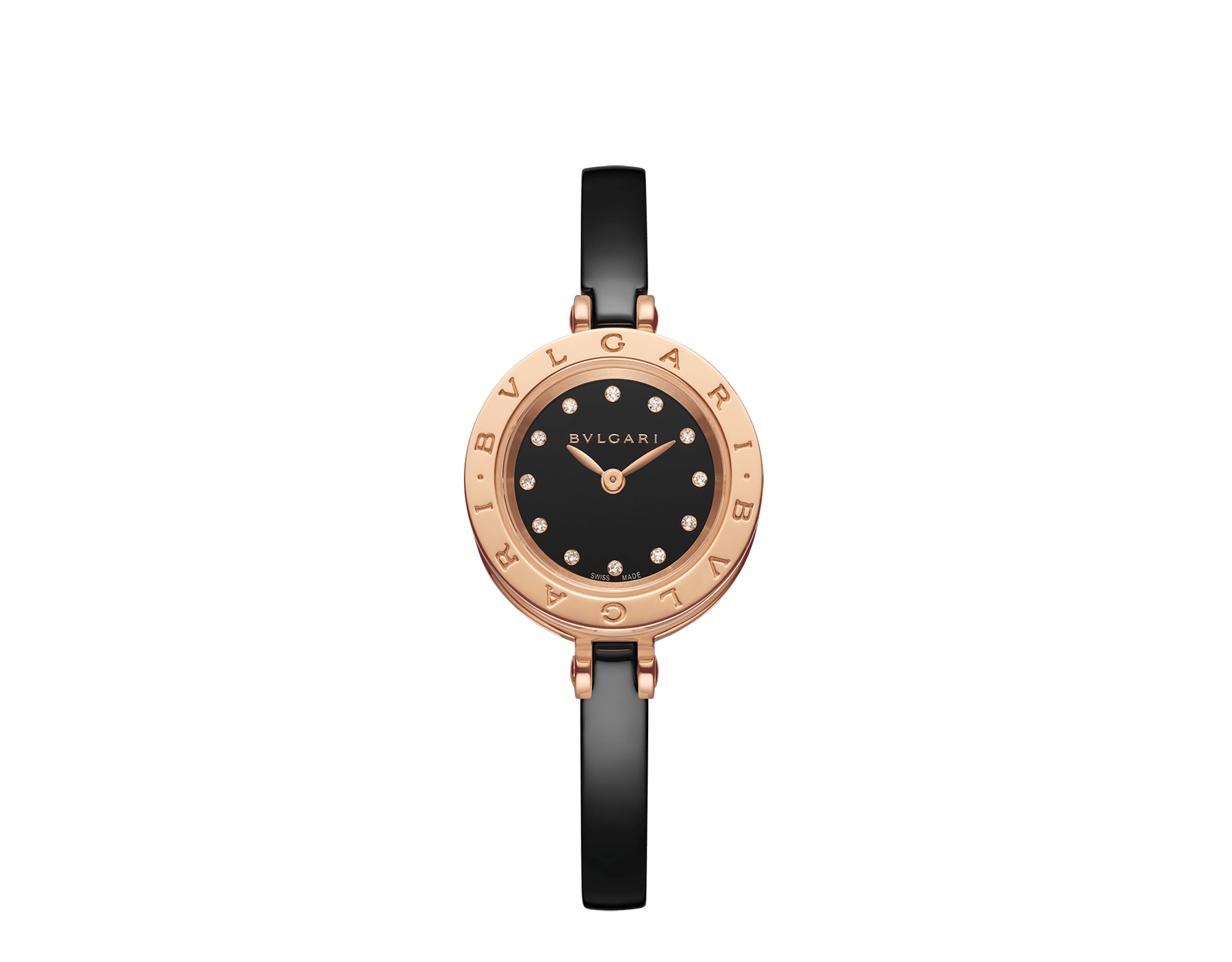 B.zero1 watch with 18 kt rose gold and black ceramic case, black lacquered dial set with diamond indexes, black ceramic bangle and 18 kt rose gold clasp. B01watch-black-black-dial2 image 1