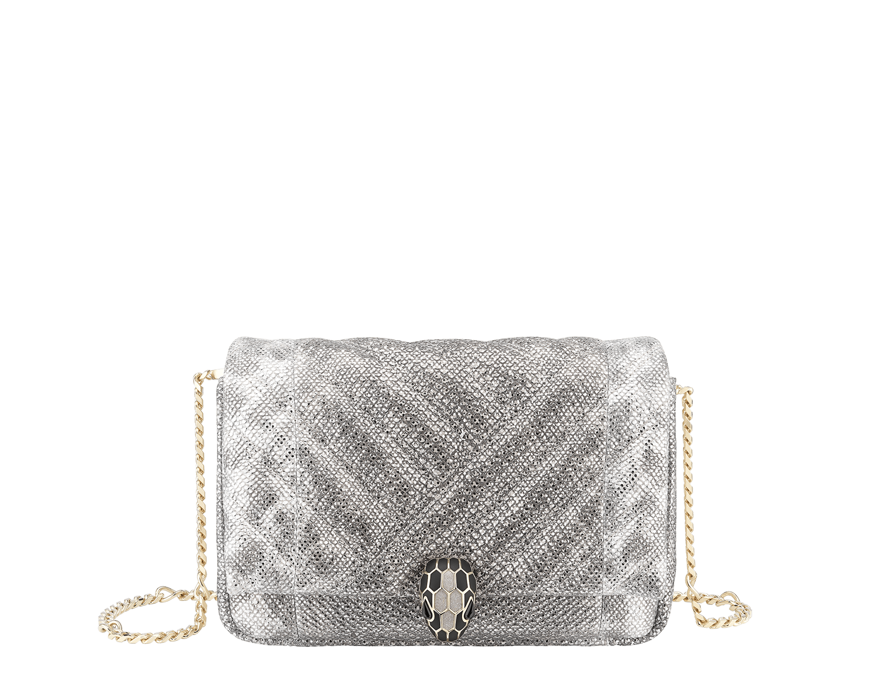 Serpenti Cabochon micro bag in soft matelassé white agate metallic karung skin, with a graphic motif. Light gold brass plated tempting snake head closure in black and glitter white agate enamel and black onyx eyes. 1023-MK image 1