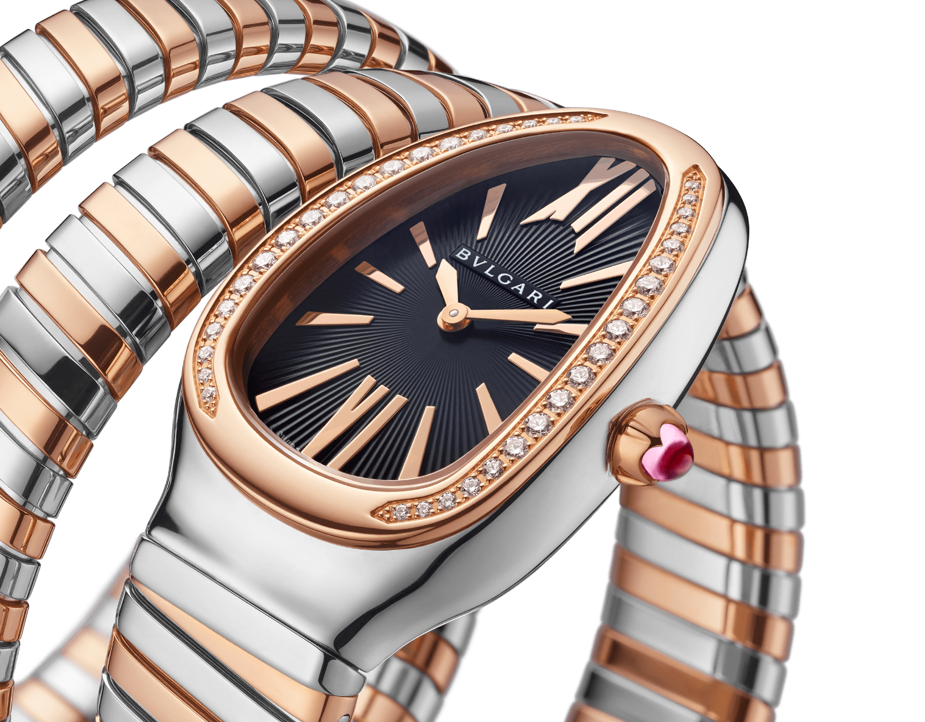 Serpenti Tubogas double spiral watch with stainless steel case, 18 kt rose gold bezel set with brilliant cut diamonds, black opaline dial, 18 kt rose gold and stainless steel bracelet. 102099 image 3
