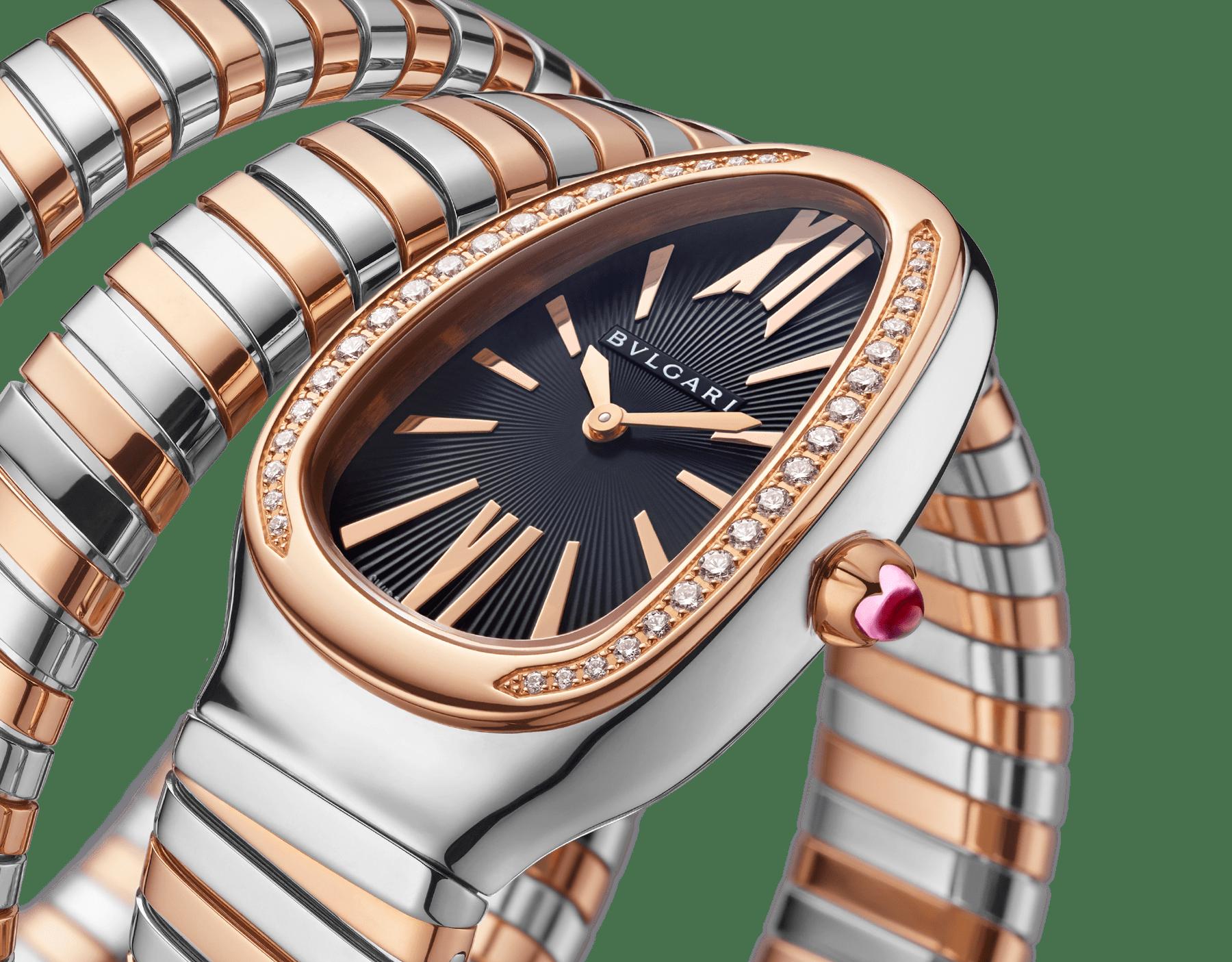 Montre Serpenti Tubogas avec boîtier en acier inoxydable, lunette en or rose 18K sertie de diamants taille brillant, cadran en opaline noire, bracelet double spirale en or rose 18K et acier inoxydable. 102099 image 3