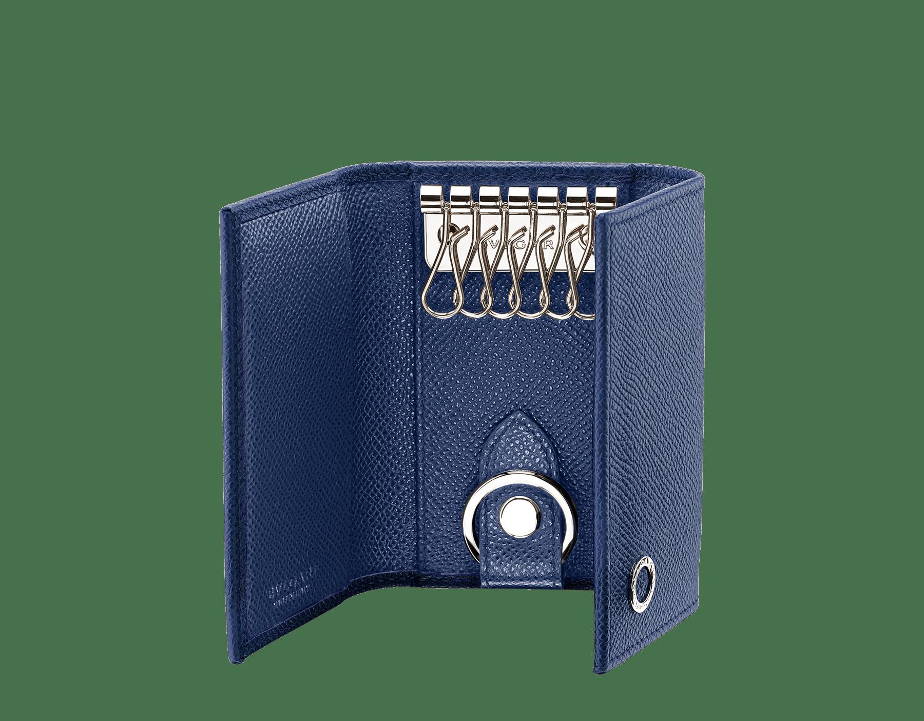 Porta-chaves duplo BVLGARIBVLGARI em couro de novilho granulado denim-safira. Porta-chave de carro removível em metal banhado a paládio. 288606 image 2