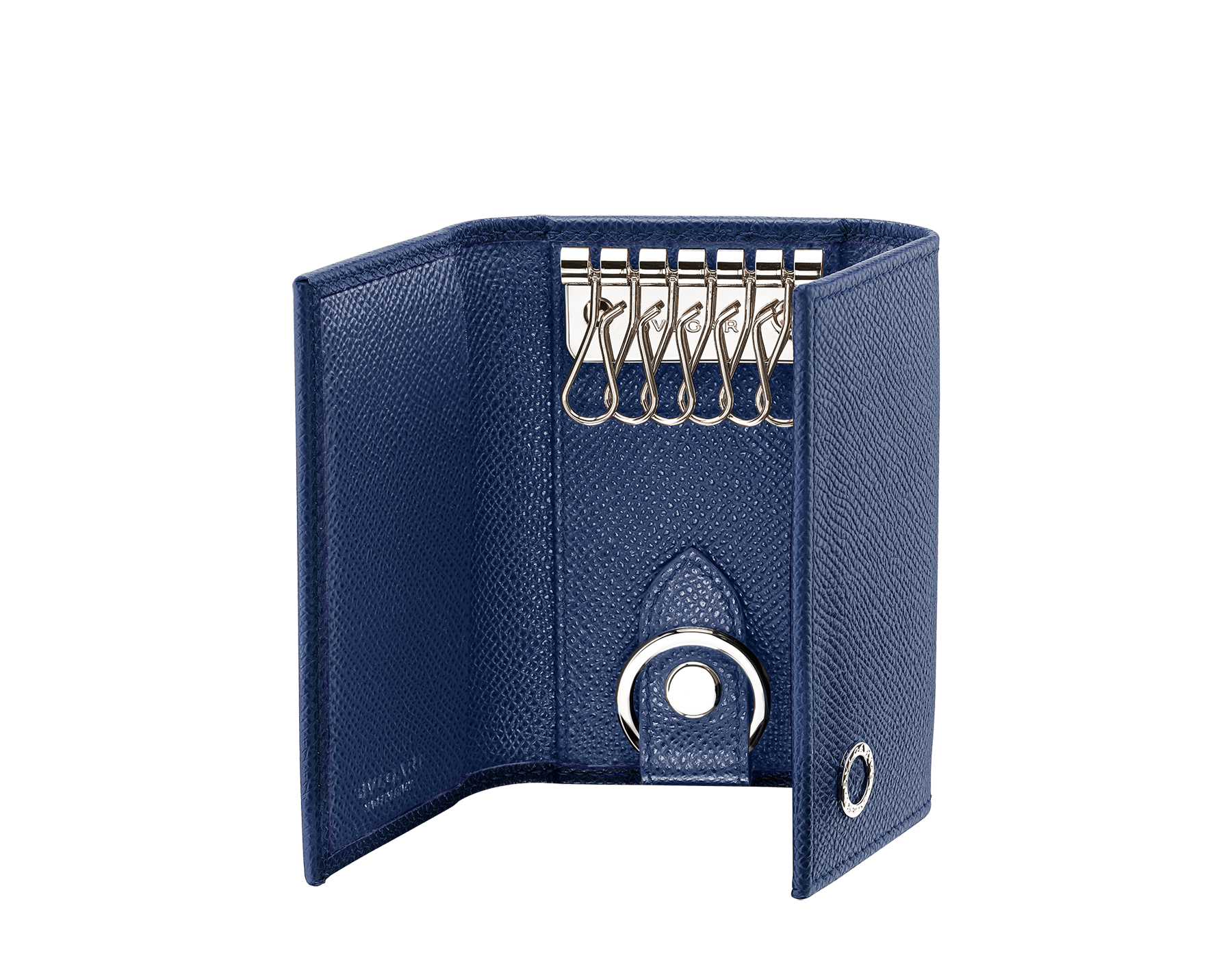 BVLGARI BVLGARI 兩用鑰匙包,採用 Pluto Stone 灰色珠面小牛皮和 Denim Sapphire 藍色珠面小牛皮。附可拆式鍍鈀黃銅汽車鑰匙扣。 BBM-DOUBLE-KEYHOLDa image 2