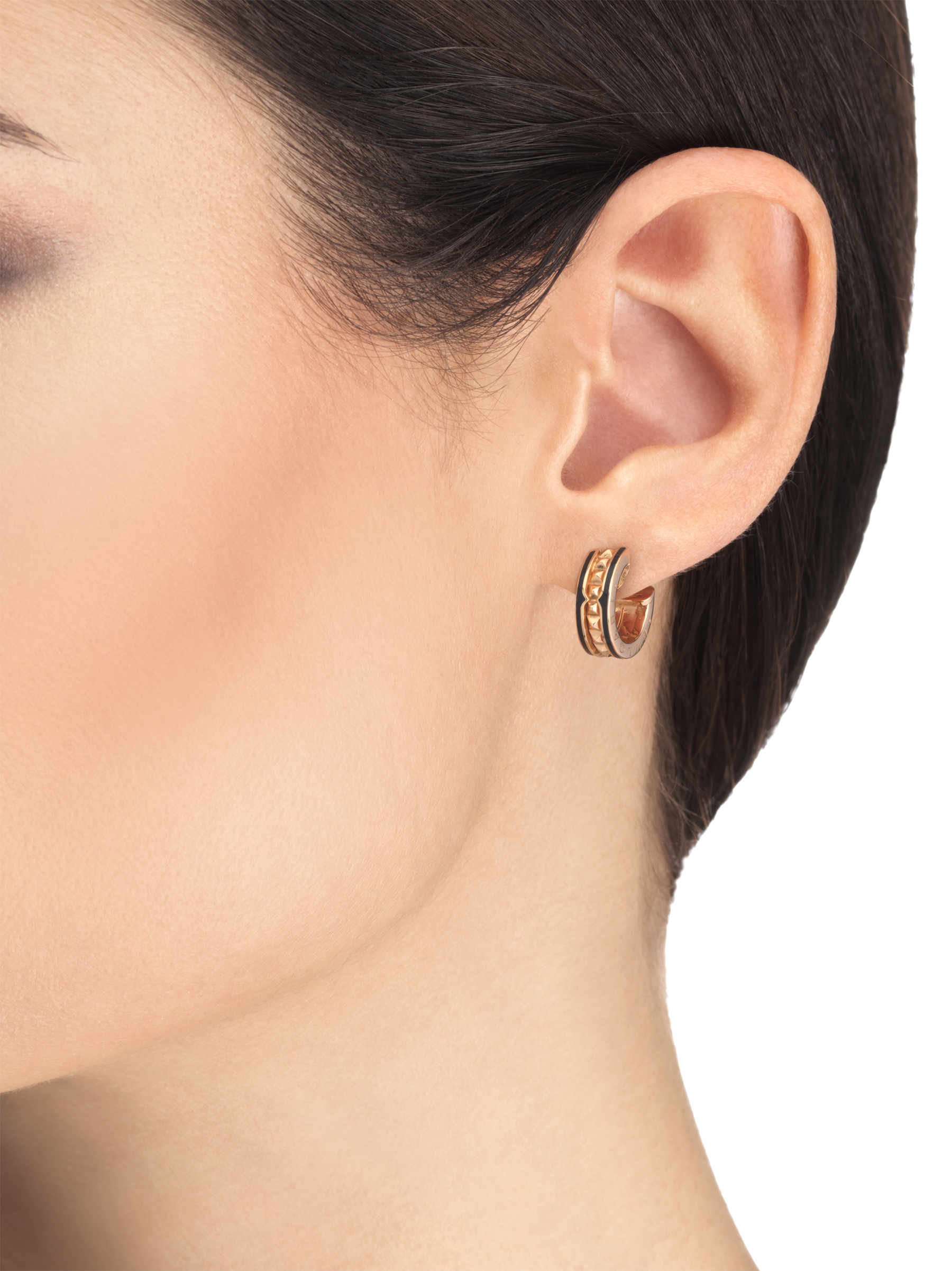 B.zero1 Rock 18 kt rose gold earrings with studded spiral and black ceramic inserts on the edges 357567 image 3