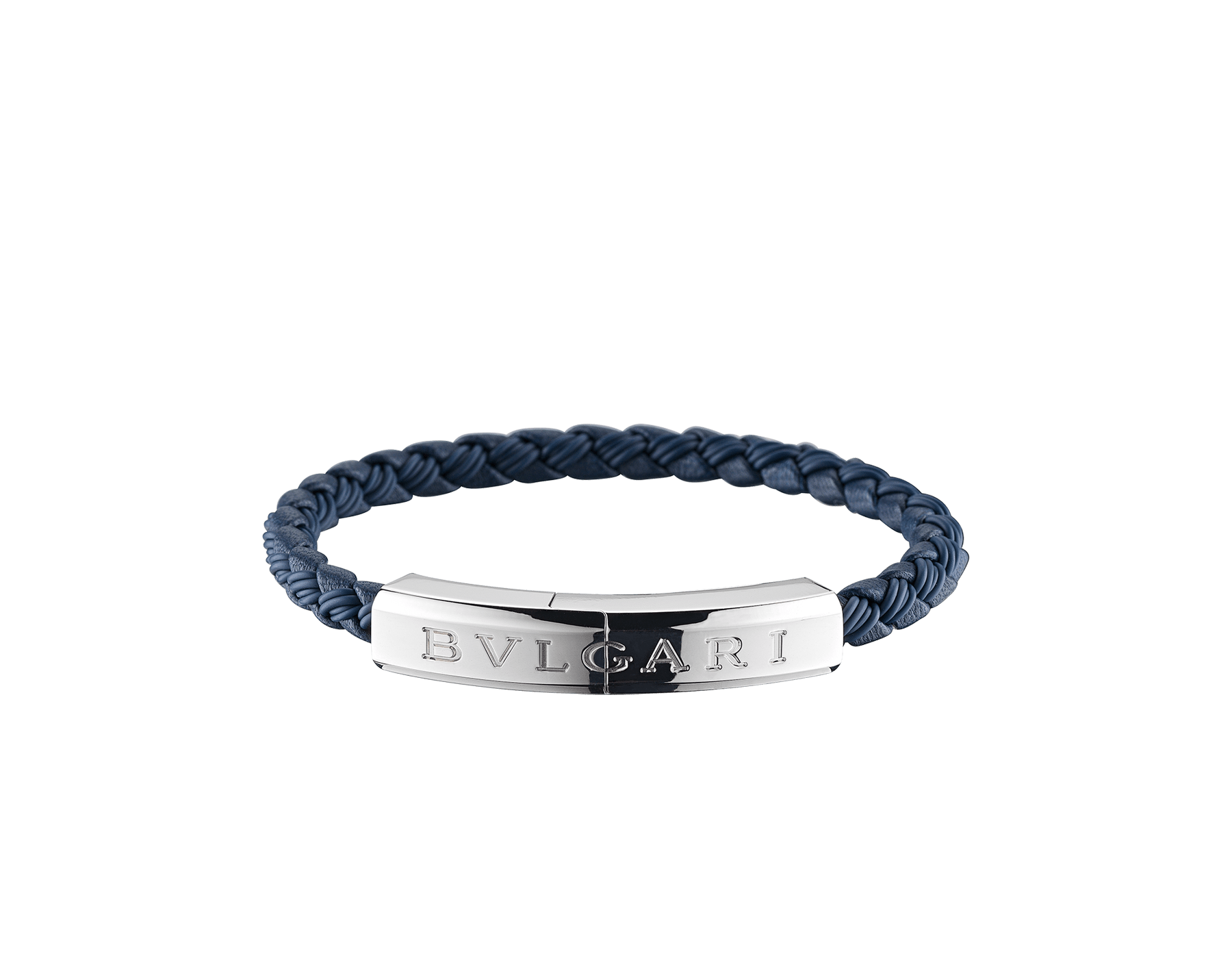 """BVLGARI BVLGARI"" bracelet in Denim Sapphire blue calf leather and rubber with a silver plated closure with Bvlgari logo. LogoPlate-CLR-DS image 1"