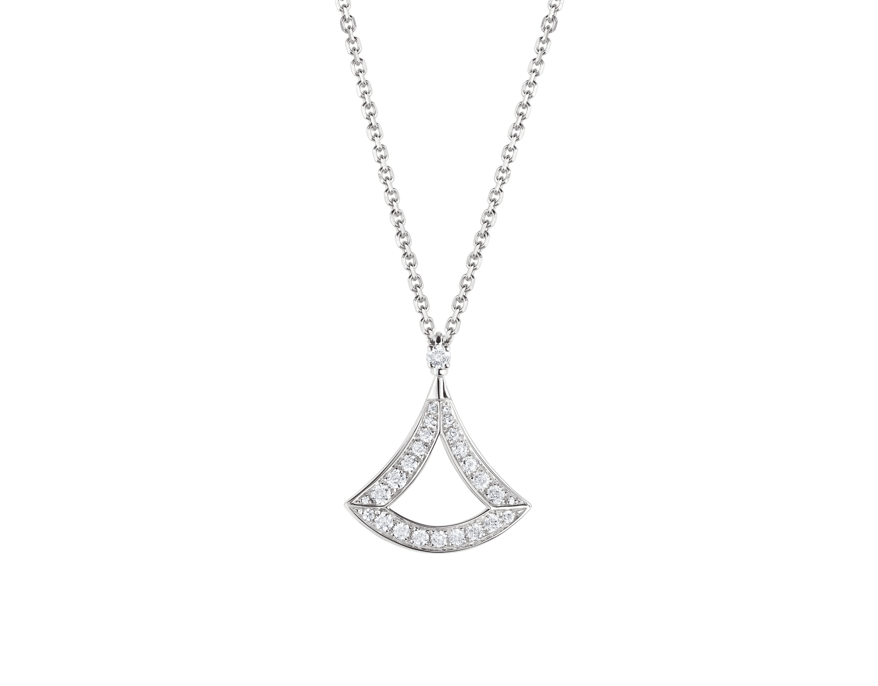 DIVAS' DREAM openwork necklace in 18 kt white gold with 18 kt white gold pendant set with pavé diamonds. 354047 image 1