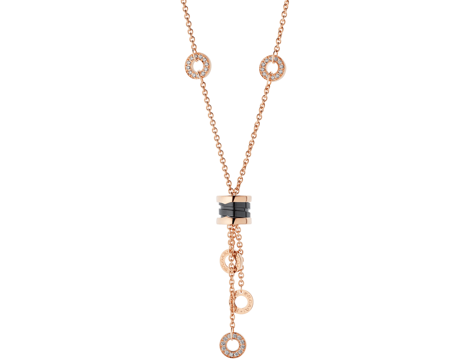 B.zero1 necklace with 18 kt rose gold chain set with pavé diamonds and pendant in 18 kt rose gold and black ceramic. 347578 image 1