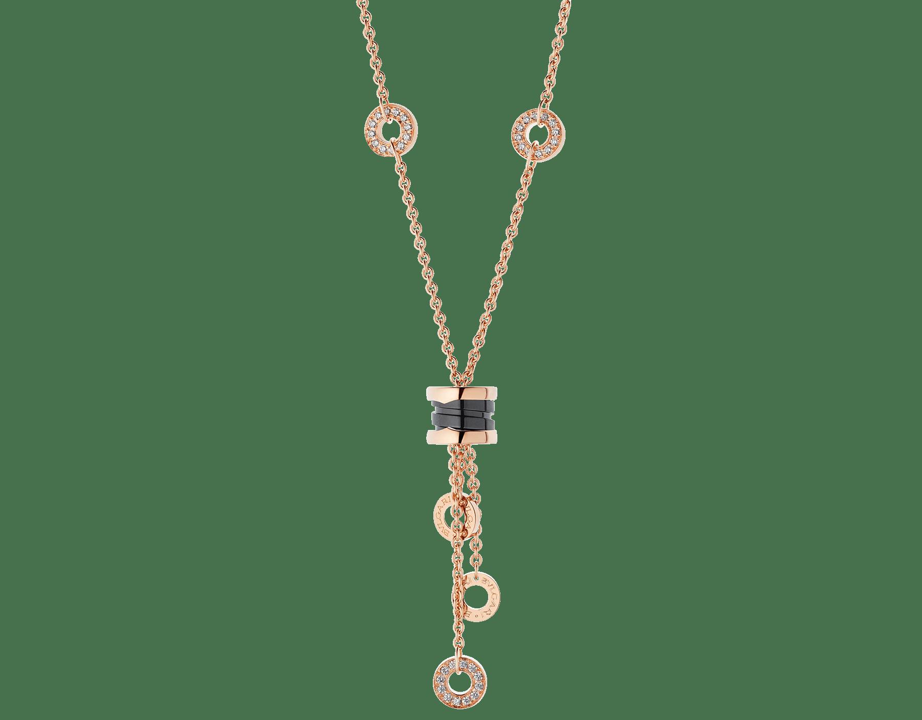 Colar B.zero1 com corrente em ouro rosa 18K cravejada com pavê de diamantes, pingente em ouro rosa 18K e cerâmica preta. 347578 image 1