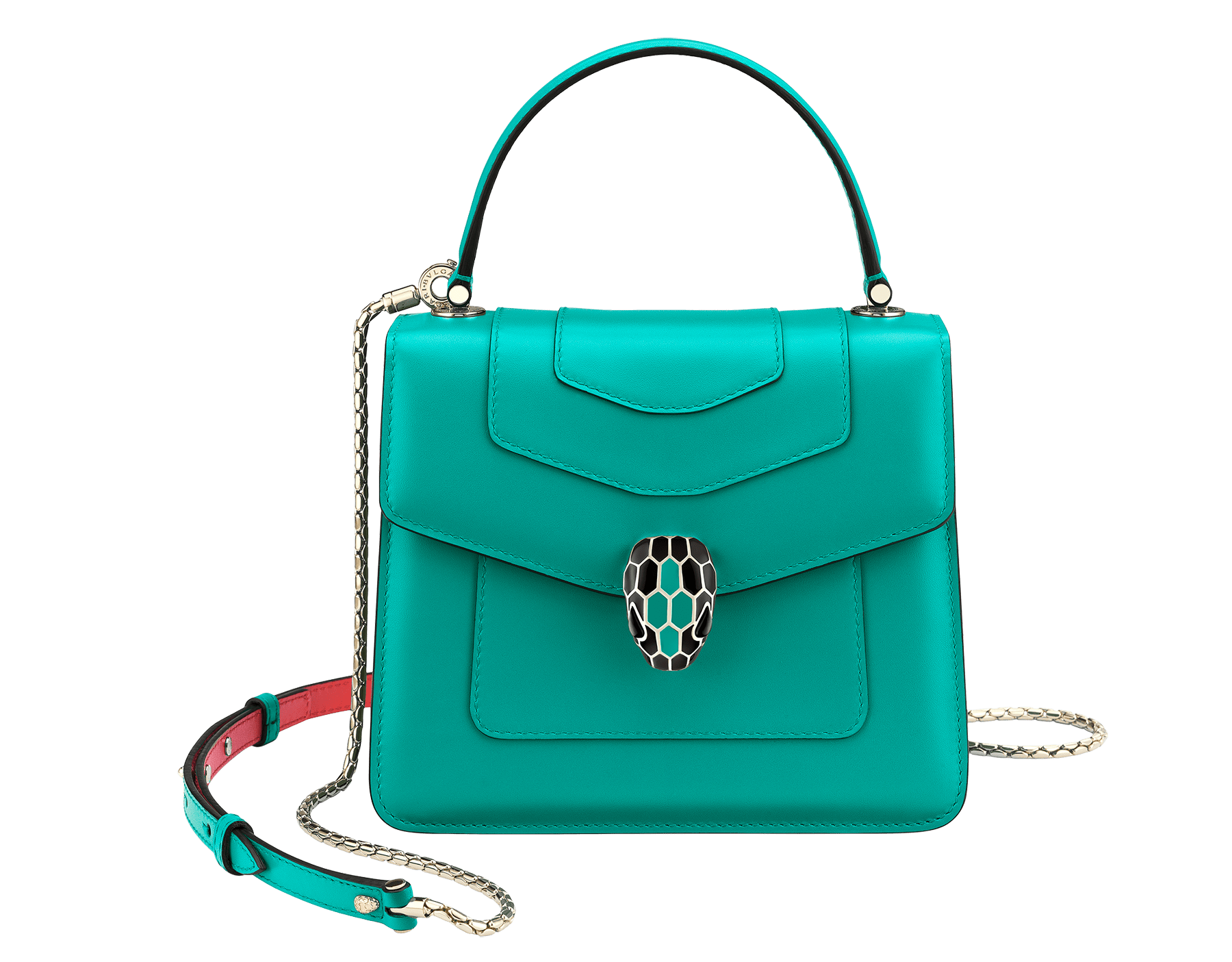 "Borsa a tracolla ""Serpenti Forever"" in vitello turchese tropicale con lati a contrasto in vitello color corallo. Iconica chiusura Serpenti in ottone placcato oro chiaro e smalto nero e turchese tropicale con occhi in onice nera. 287964 image 1"