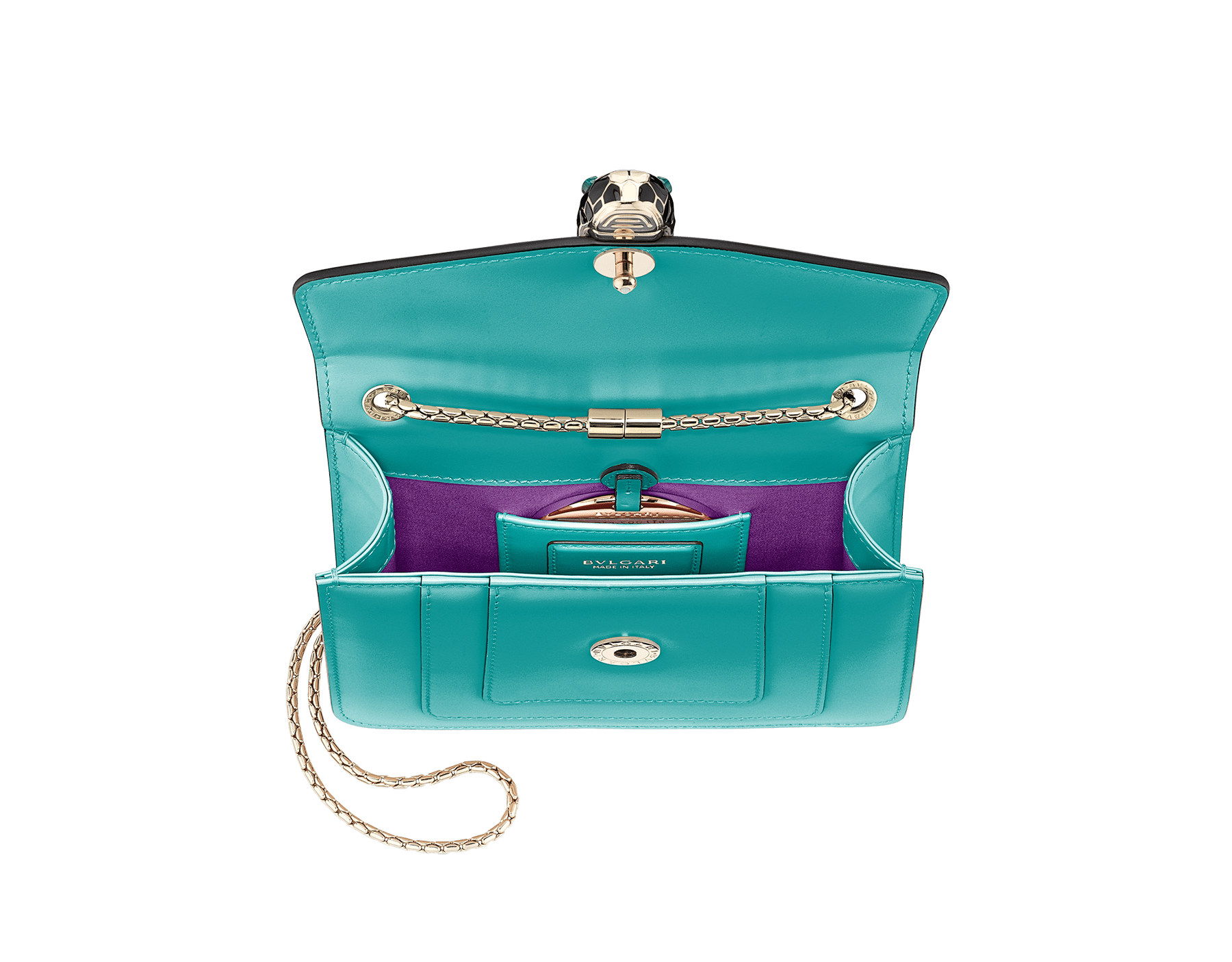 """Serpenti Forever"" crossbody bag in arctic jade calf leather. Iconic snake head closure in light gold plated brass enriched with black and white enamel and green malachite eyes. 288696 image 4"