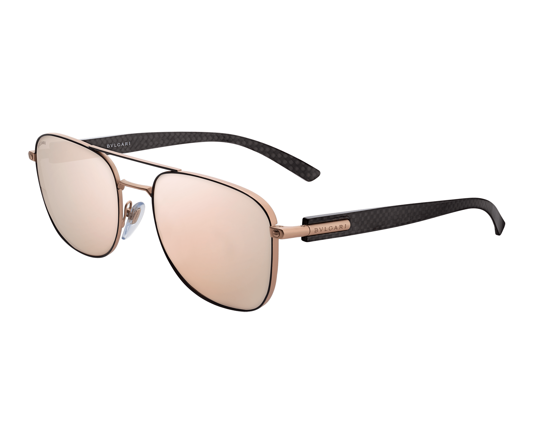 BVLGARI BVLGARI rectangular metal sunglasses with metal double bridge and carbon fibre arms. 903917 image 1