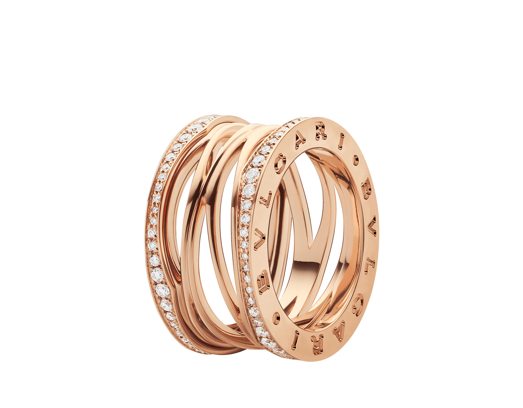 B.zero1 Design Legend four-band ring in 18 kt rose gold set with pavé diamonds (0.61 ct) on the edges. B-zero1-4-bands-AN858125 image 1