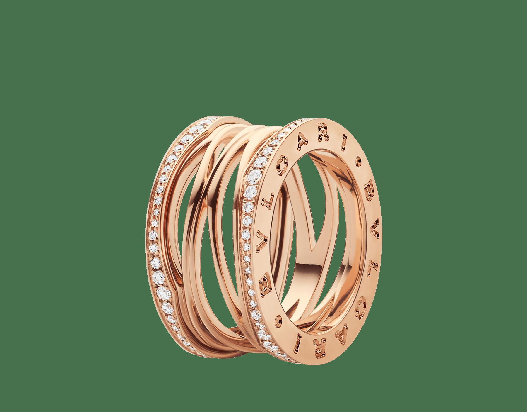 Anel B.zero1 Design Legend de 4 aros em ouro rosa 18K cravejado com pavê de diamantes nas bordas. B-zero1-4-bands-AN858125 image 1