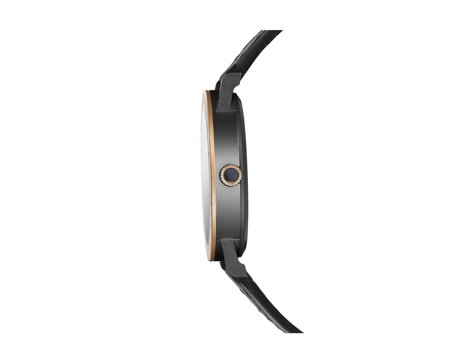 BVLGARI BVLGARI Solotempo watch with mechanical manufacture movement, automatic winding and date, stainless steel case treated with black Diamond Like Carbon, bronze bezel engraved with double logo, black dial, black leather bracelet and interchangeable black rubber bracelet 102931 image 2