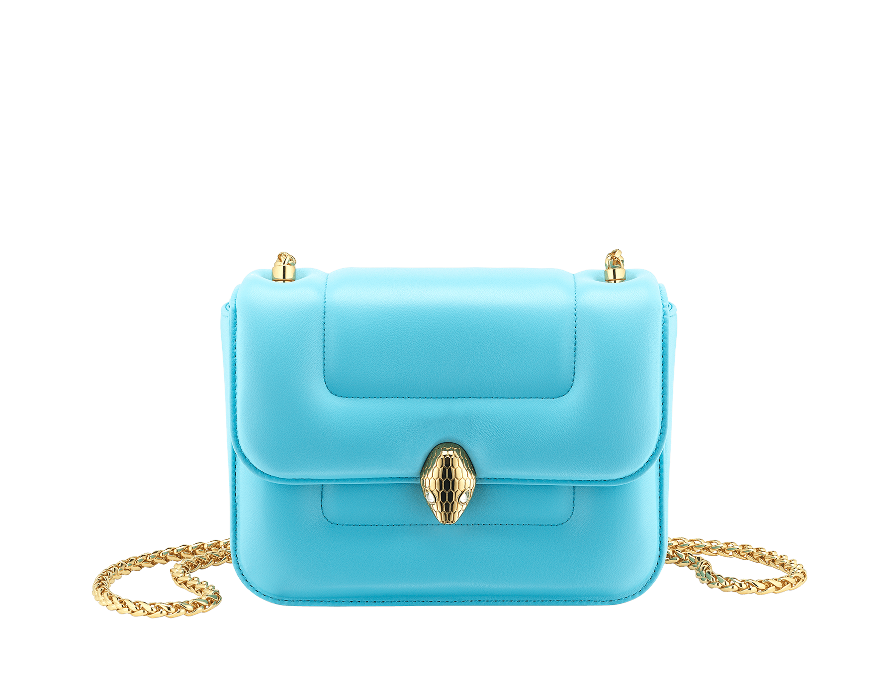 Mary Katrantzou x Bvlgari 手提包,採用柔軟的 Aegean Toapz 藍色絎縫納帕軟面皮,Aegean Toapz 藍色納帕軟面皮襯裡。新式金色黃銅 Serpenti 蛇頭扣環,誘人蛇眼鑲飾水晶。特別版包款。 MK-1142 image 4
