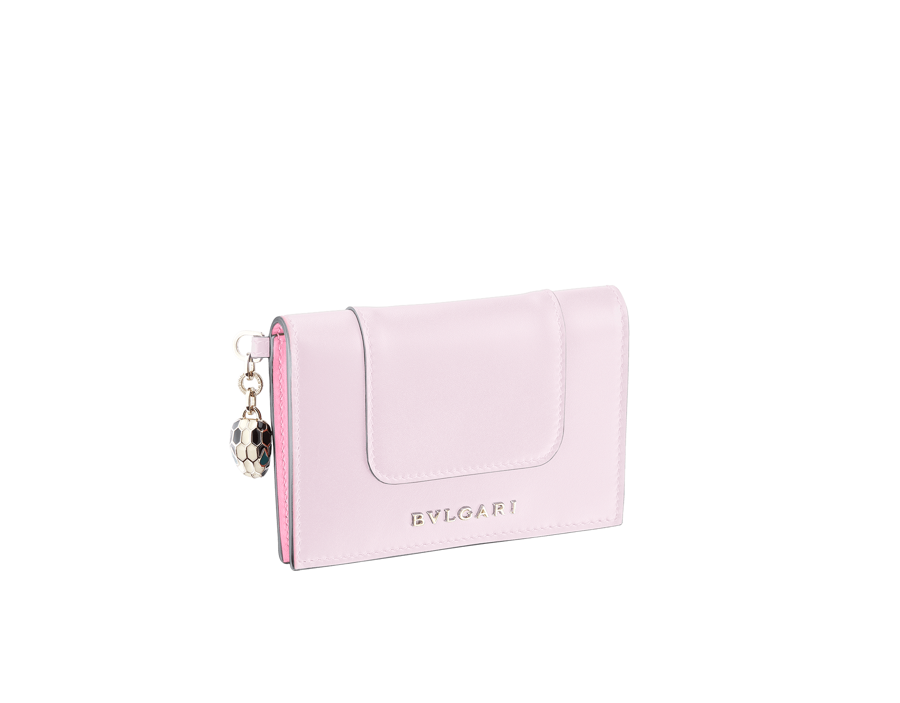 Serpenti Forever folded credit card holder in rosa di francia calf leather. Iconic snakehead charm in black and white enamel, with green malachite enamel eyes. 289060 image 1