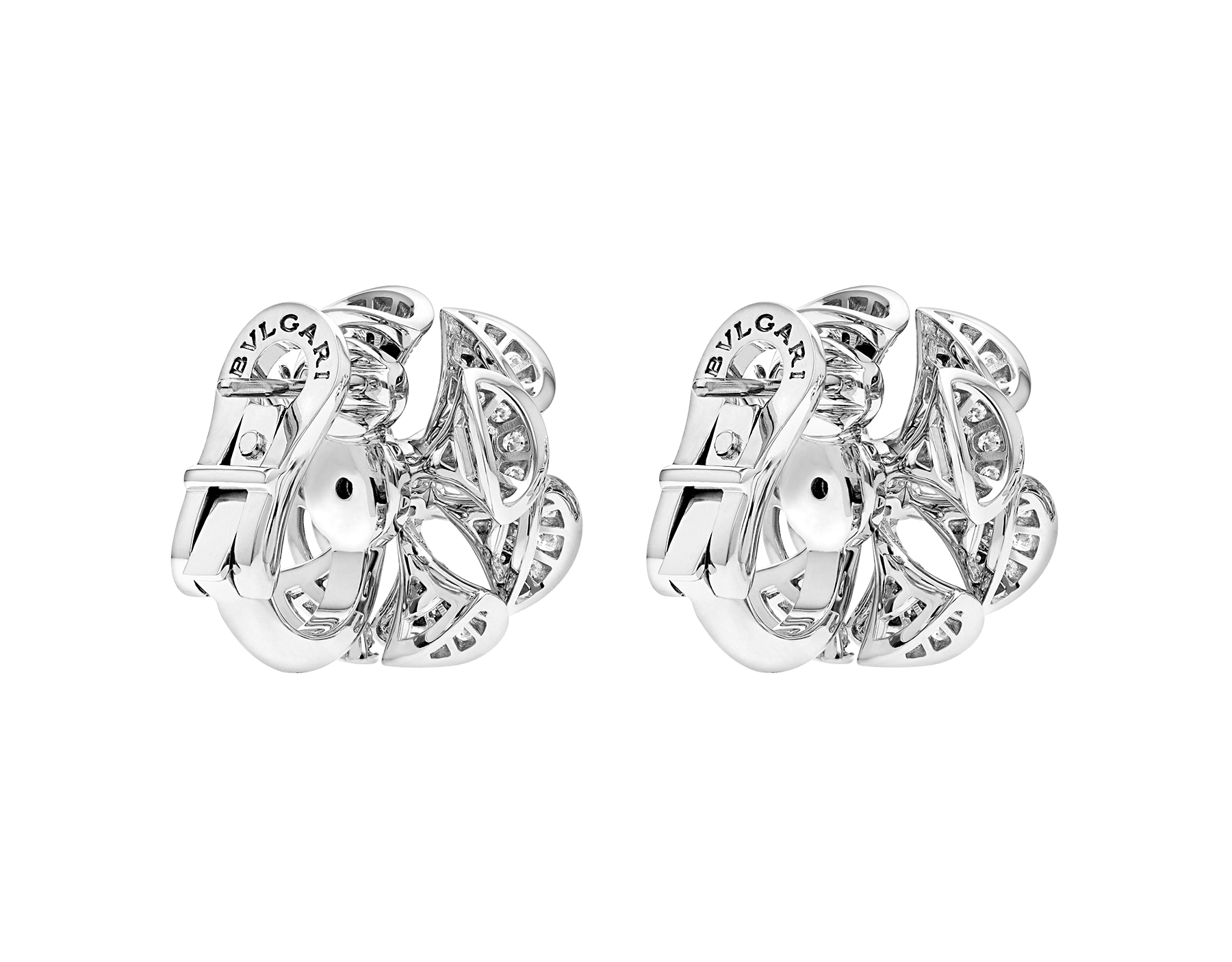 DIVAS' DREAM earrings in 18 kt white gold set with a central diamond and full pavé diamonds. 350785 image 3