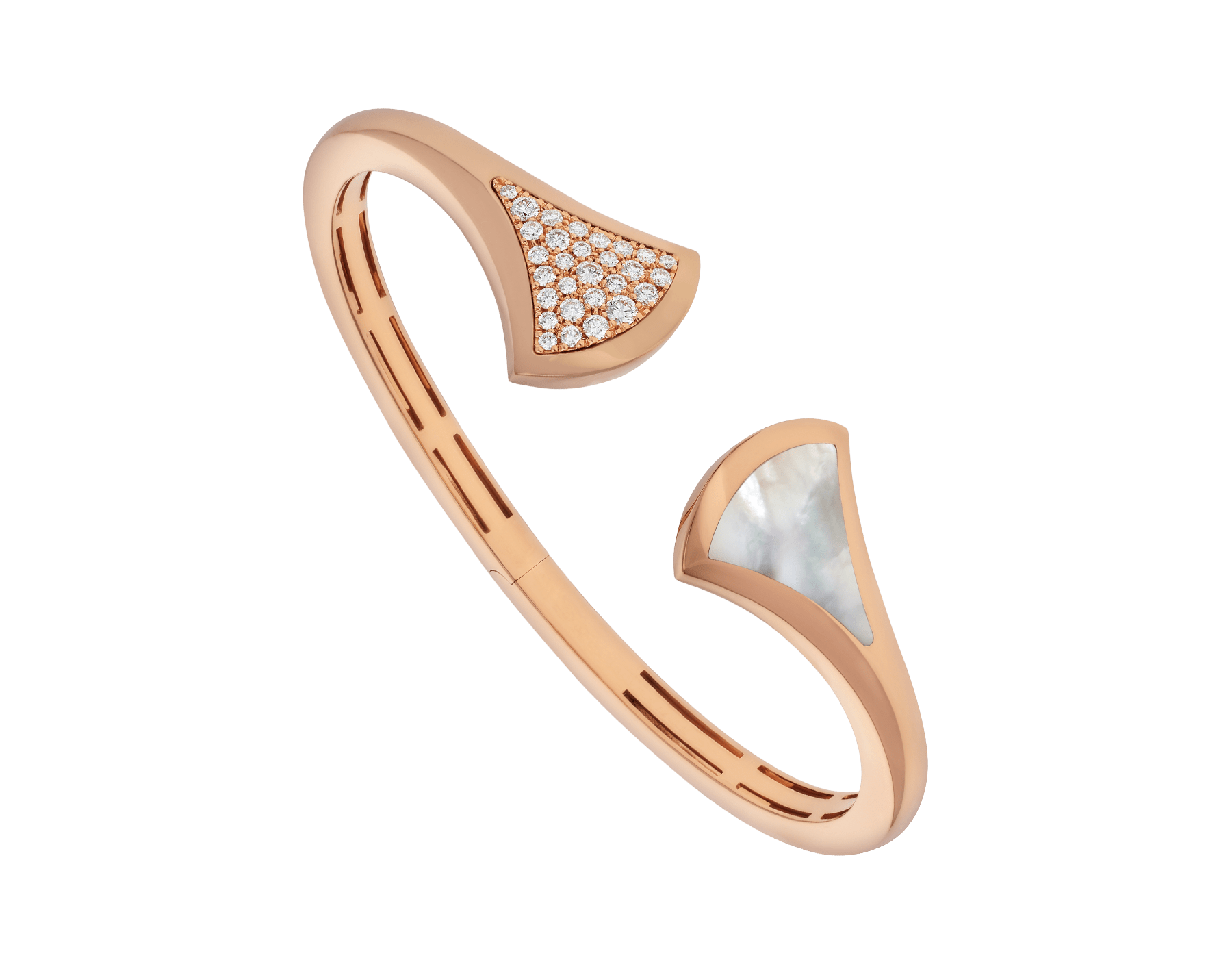 DIVAS' DREAM 18 kt rose gold cuff bracelet, set with mother-of-pearl and pavé diamonds. BR857370 image 1