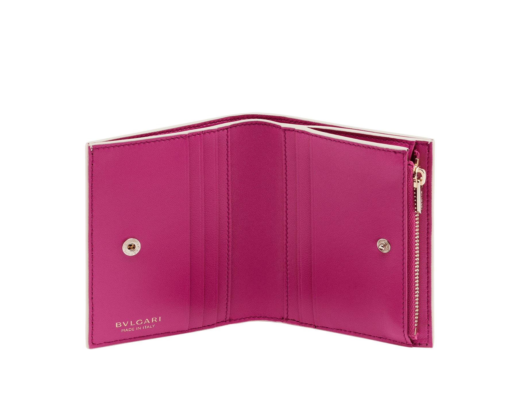 Bvlgari Logo compact wallet in Ivory Opal white calf leather with hot stamped Infinitum Bvlgari logo pattern and plain Pink Spinel nappa leather lining. Light gold-plated brass hardware BVL-COMPACTWLT image 2