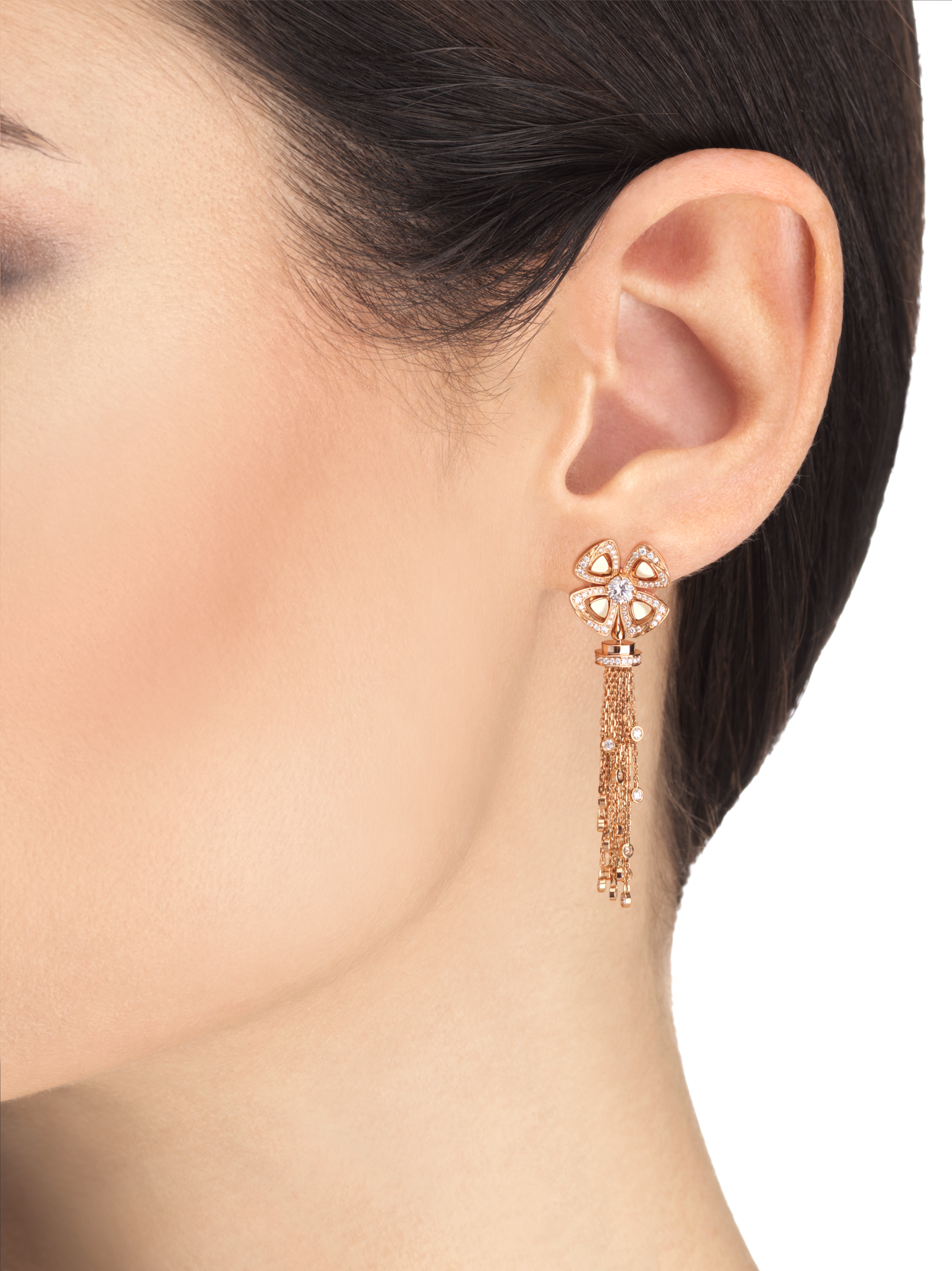 Fiorever 18 kt rose gold pendant earring, set with round brilliant-cut diamonds and pavé diamonds. 357322 image 3