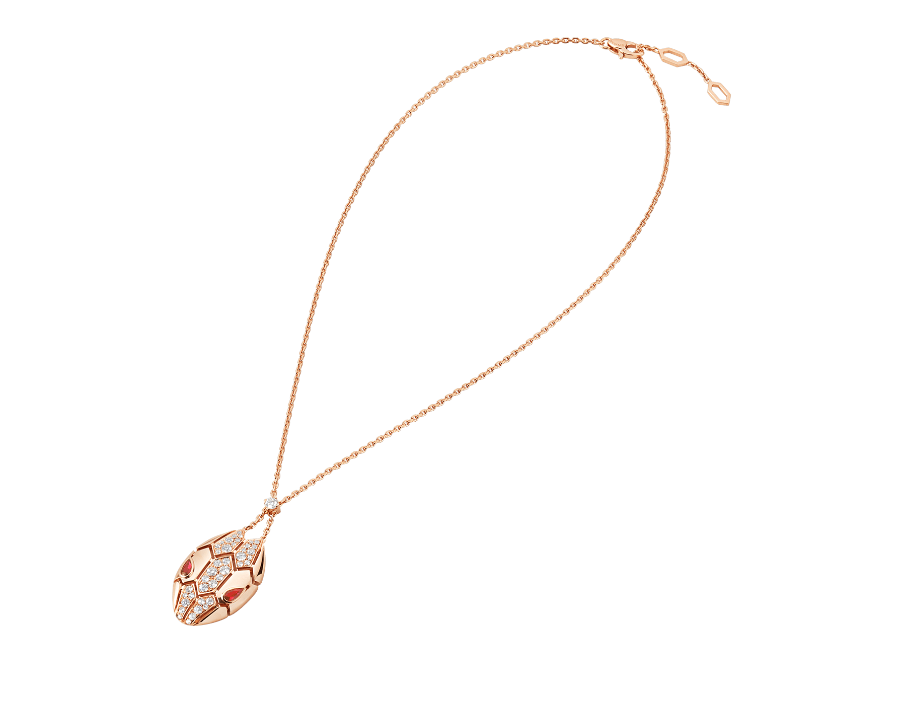 Serpenti necklace with 18 kt rose gold chain and pendant, set with rubellite eyes and demi pavé diamonds. 352748 image 2