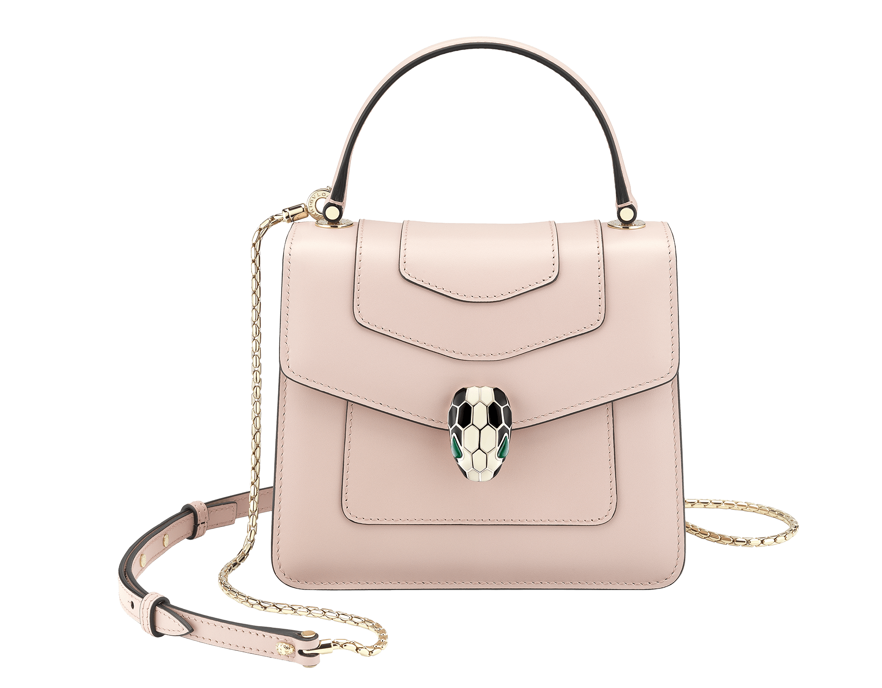 """Serpenti Forever"" crossbody bag in crystal rose calf leather. Iconic snakehead closure in light gold plated brass enriched with black and white enamel and green malachite eyes 287030 image 1"