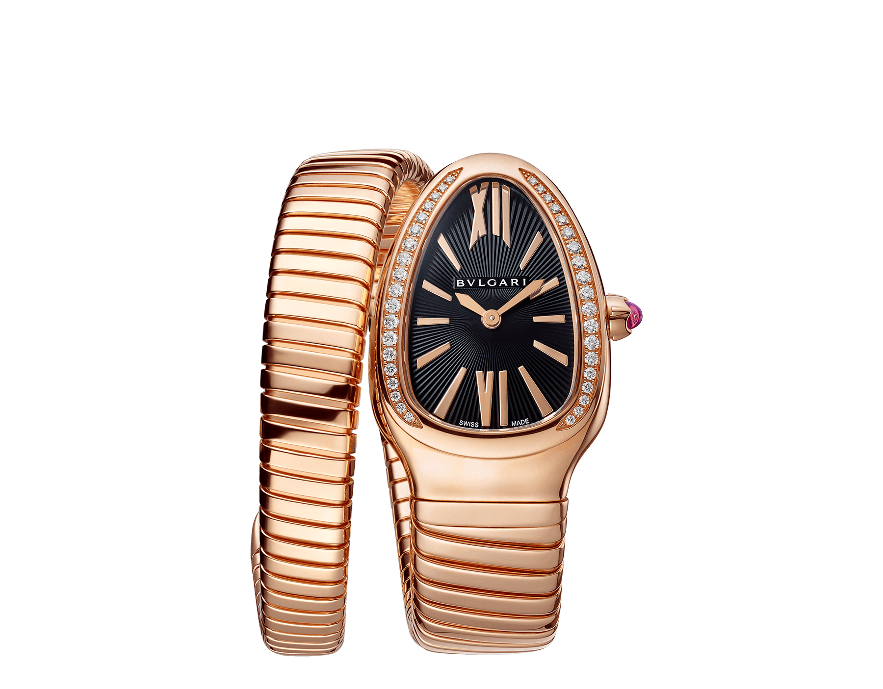 Serpenti Tubogas single spiral watch with 18 kt rose gold case set with brilliant cut diamond, black opaline dial and 18kt rose gold bracelet. 101815 image 1