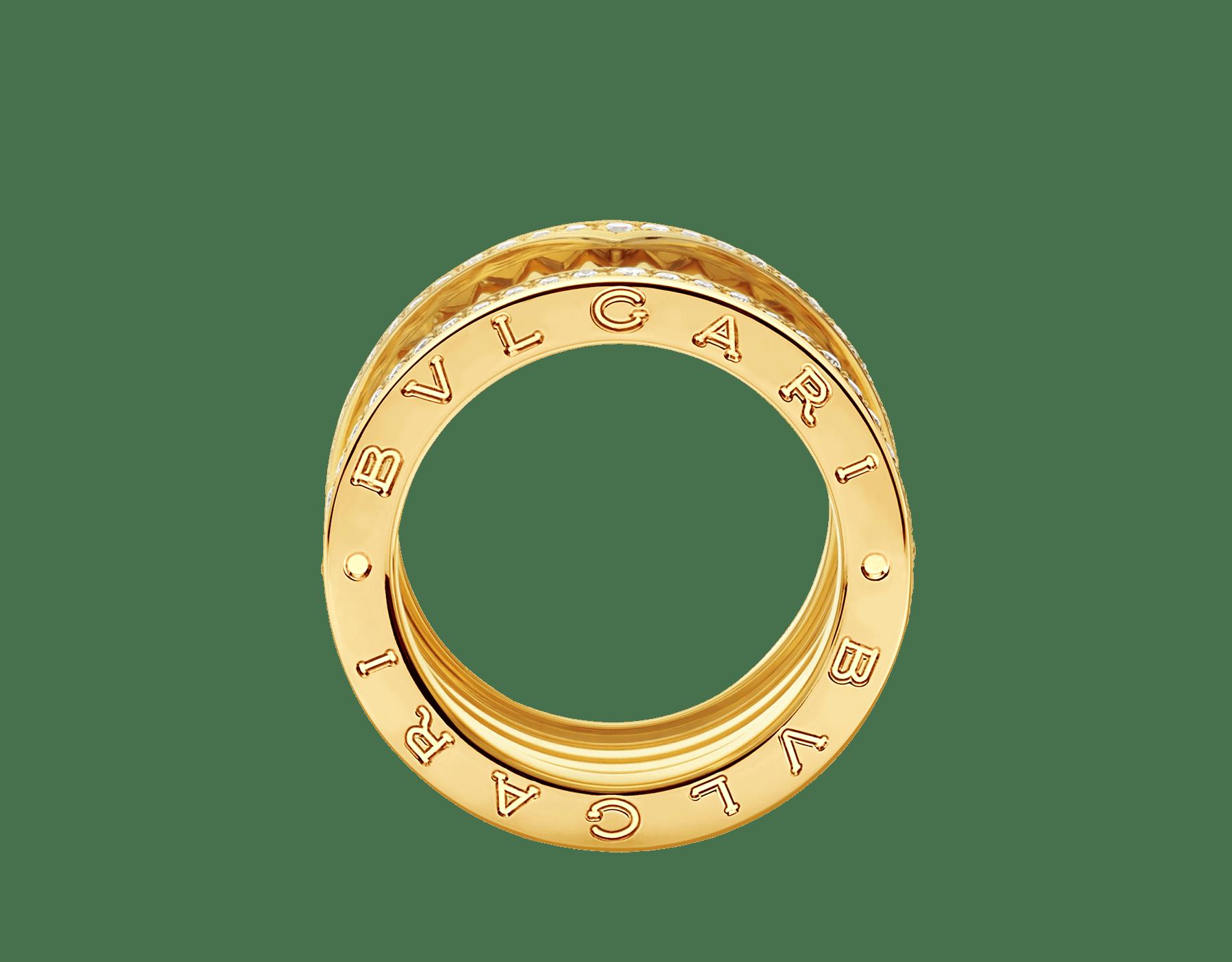 ビー・ゼロワン ロック 4バンド リング。18Kイエローゴールド製。スタッズ付きスパイラル。エッジにパヴェダイヤモンドをあしらいました。 AN859026 image 2