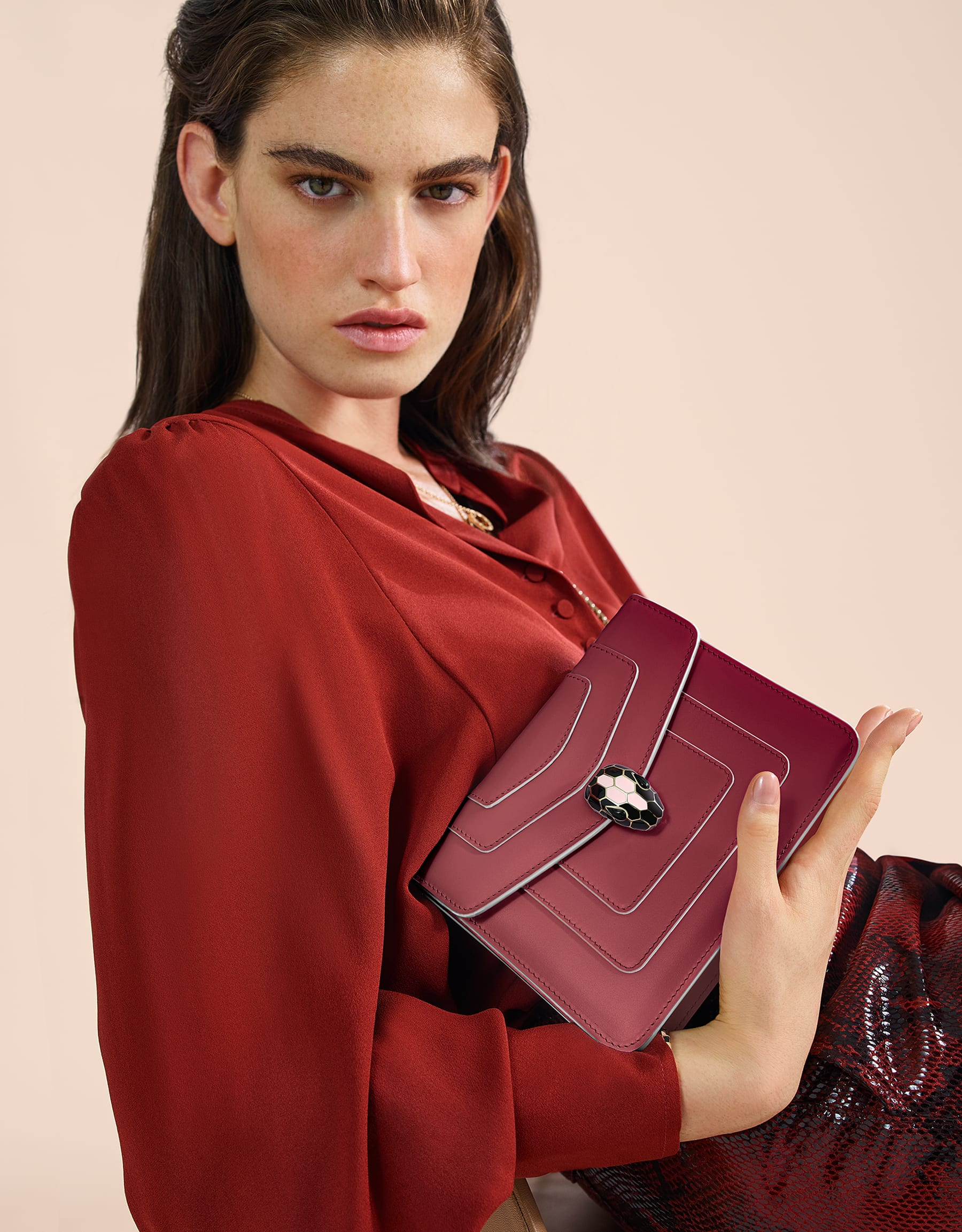 Serpenti Forever crossbody bag in Roman garnet calf leather, with rosa di francia calf leather sides. Iconic snakehead closure in light gold plated brass embellished rosa di francia and black enamel and black onyx eyes . 289035 image 8