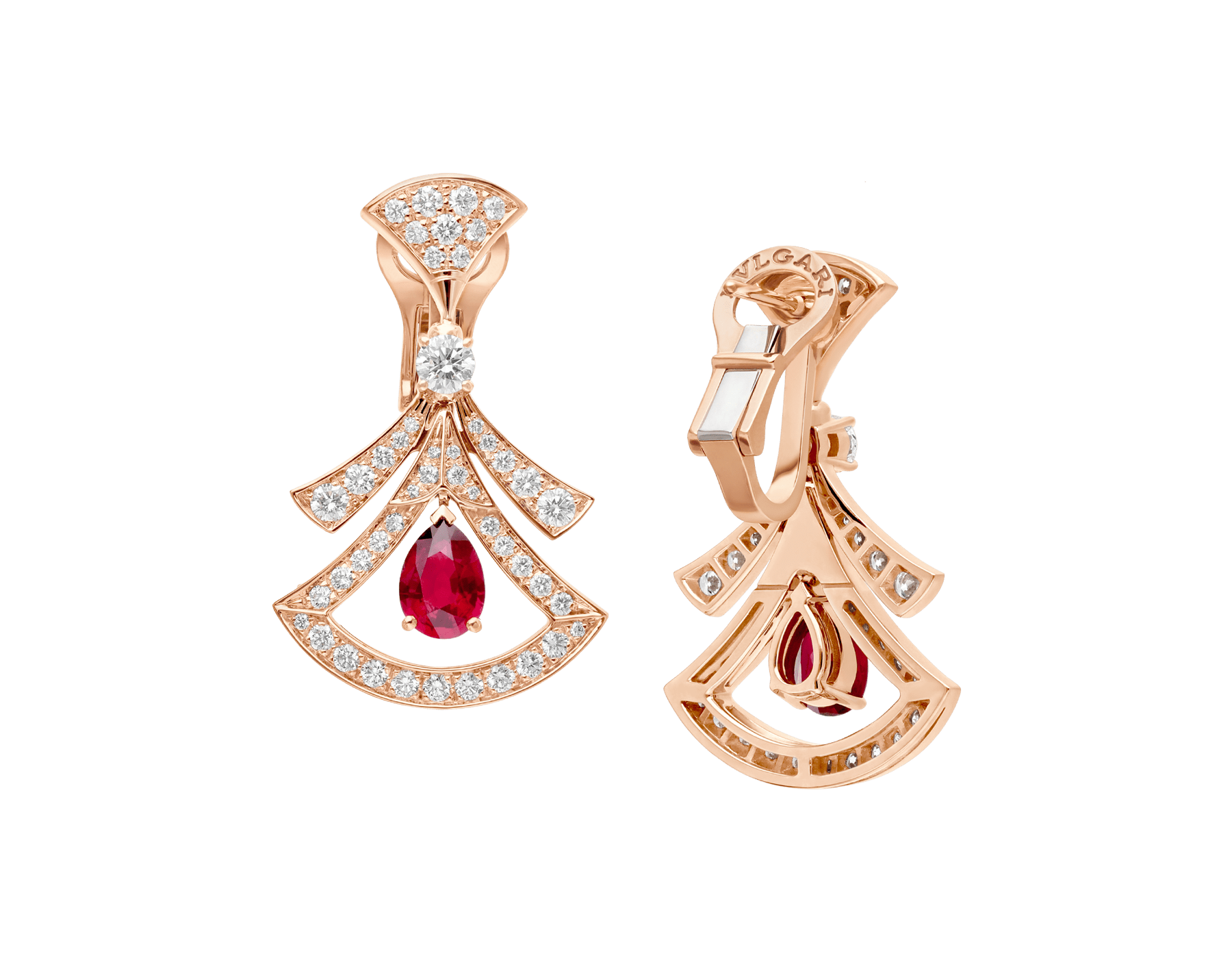 DIVAS' DREAM 18 kt rose gold openwork earrings, set with pear-shaped rubies, round brilliant-cut and pavé diamonds. 356954 image 3