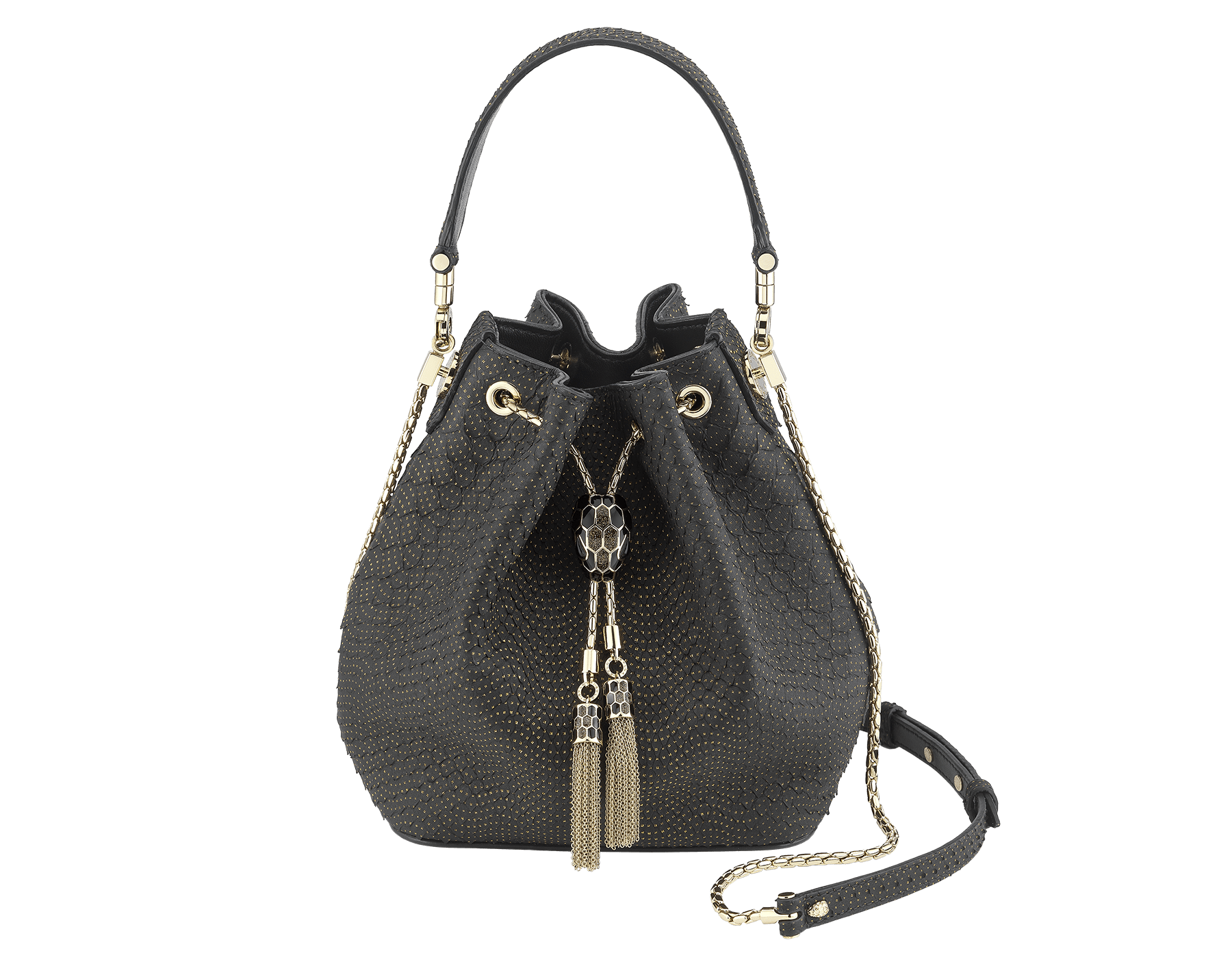 Bucket Serpenti Forever in black Fil Coupé python skin and black nappa internal lining. Hardware in light gold plated brass and snakehead closure in black and glitter bronze enamel, with eyes in black onyx 287436 image 1