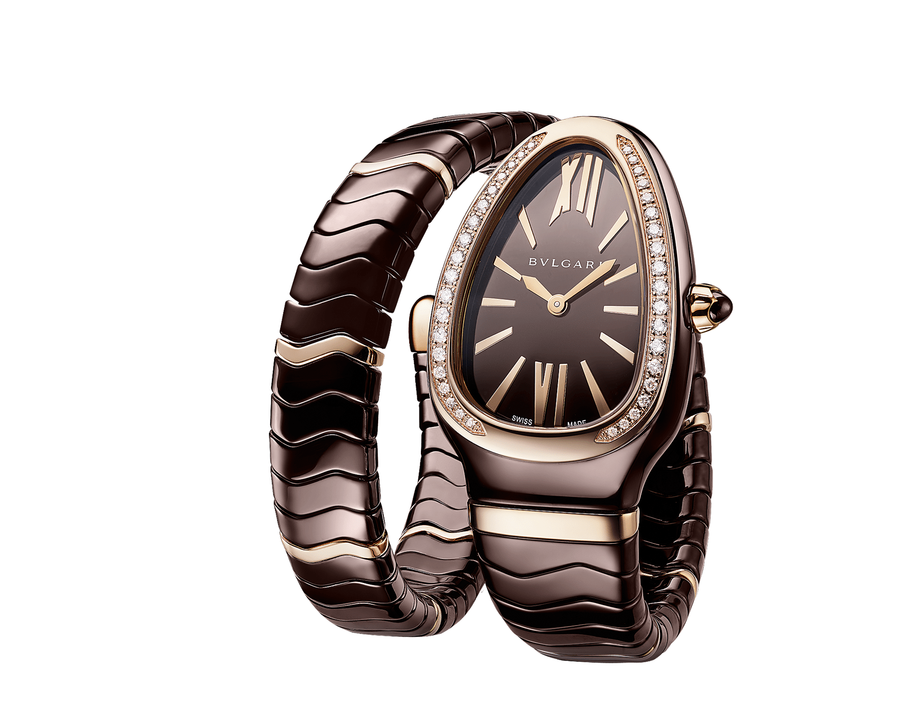 Serpenti Spiga single-spiral watch with treated ceramic case, 18 kt rose gold bezel set with diamonds, brown dial and treated ceramic bracelet with 18 kt rose gold elements 103060 image 2