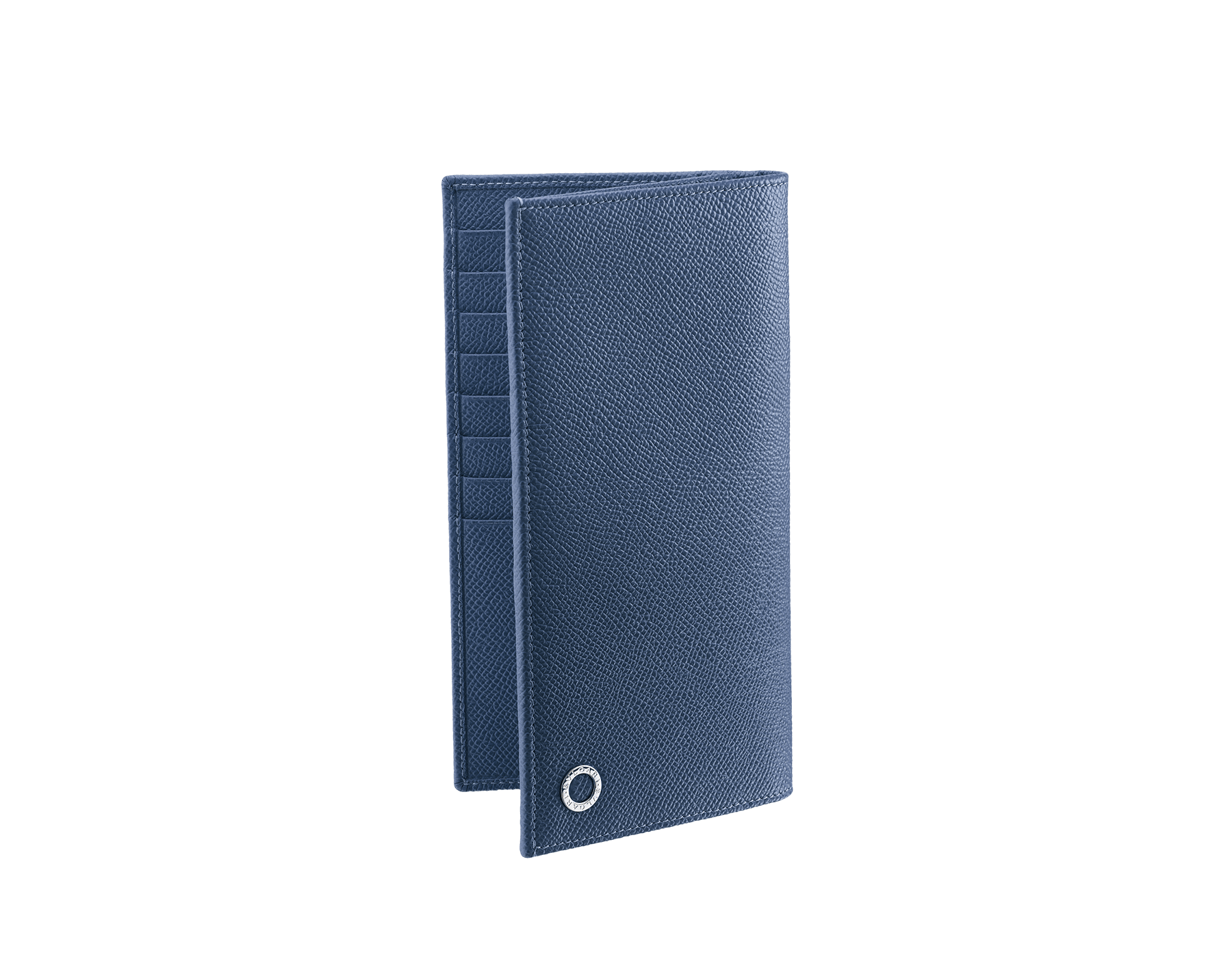 Wallet for yen in denim sapphire grain calf leather with brass palladium plated hardware and iconic BVLGARI BVLGARI motif. 285738 image 1